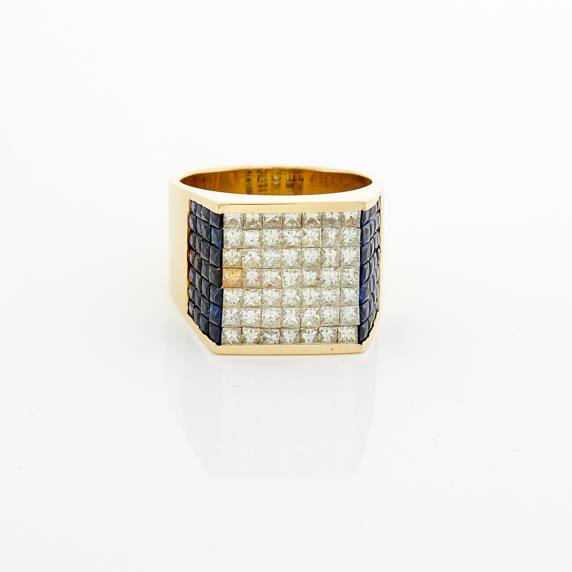 Lot image - Gold, Invisibly-Set Diamond and Sapphire Ring