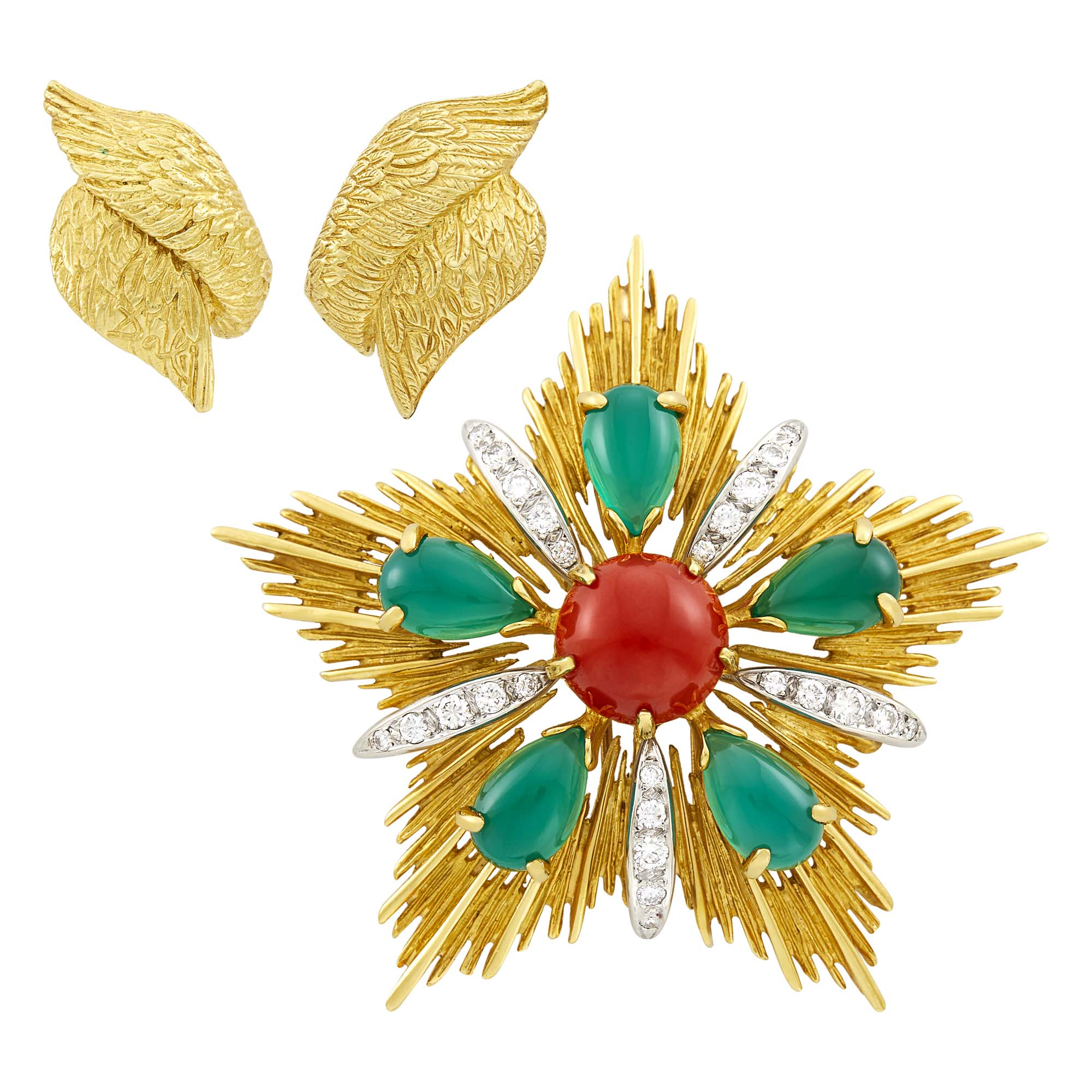 Lot image - Gold, Coral, Green Onyx and Diamond Maltese Cross Clip-Brooch and Pair of Gold Earclips