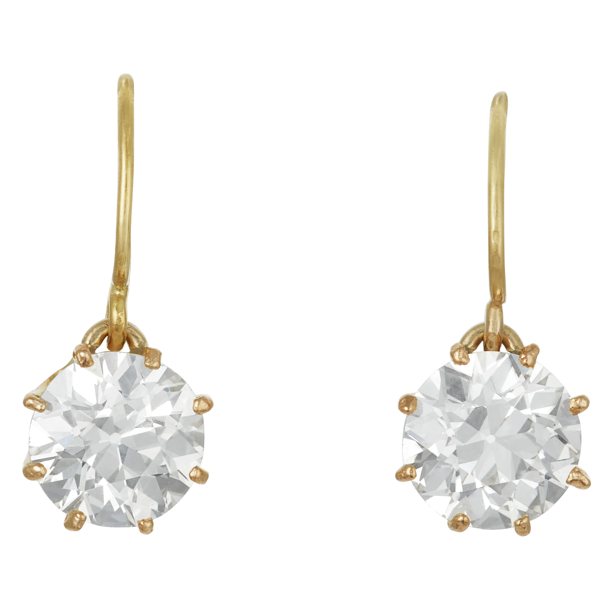 Lot image - Pair of Gold and Diamond Drop Earrings
