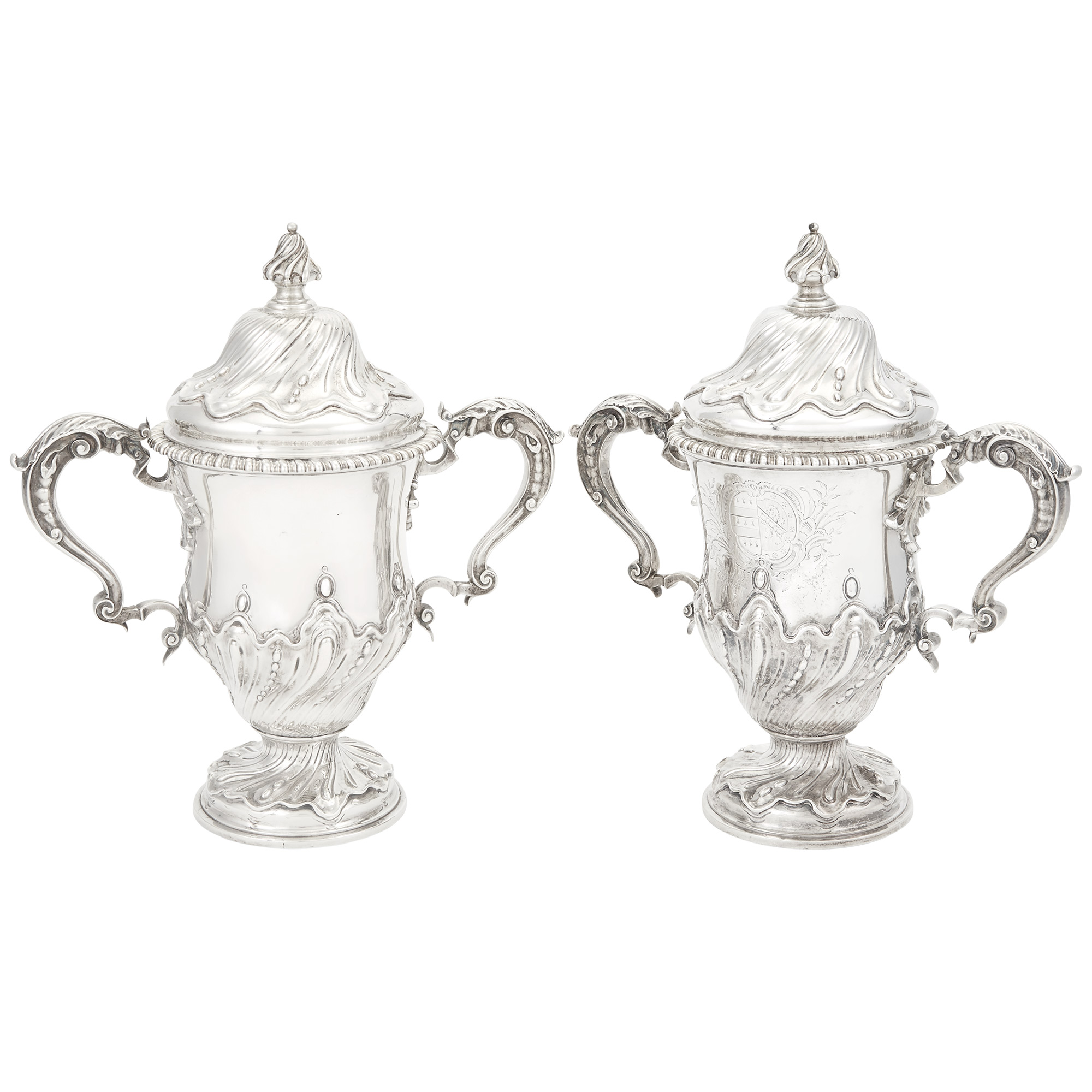 Lot image - Pair or George III Sterling Silver Covered Cups