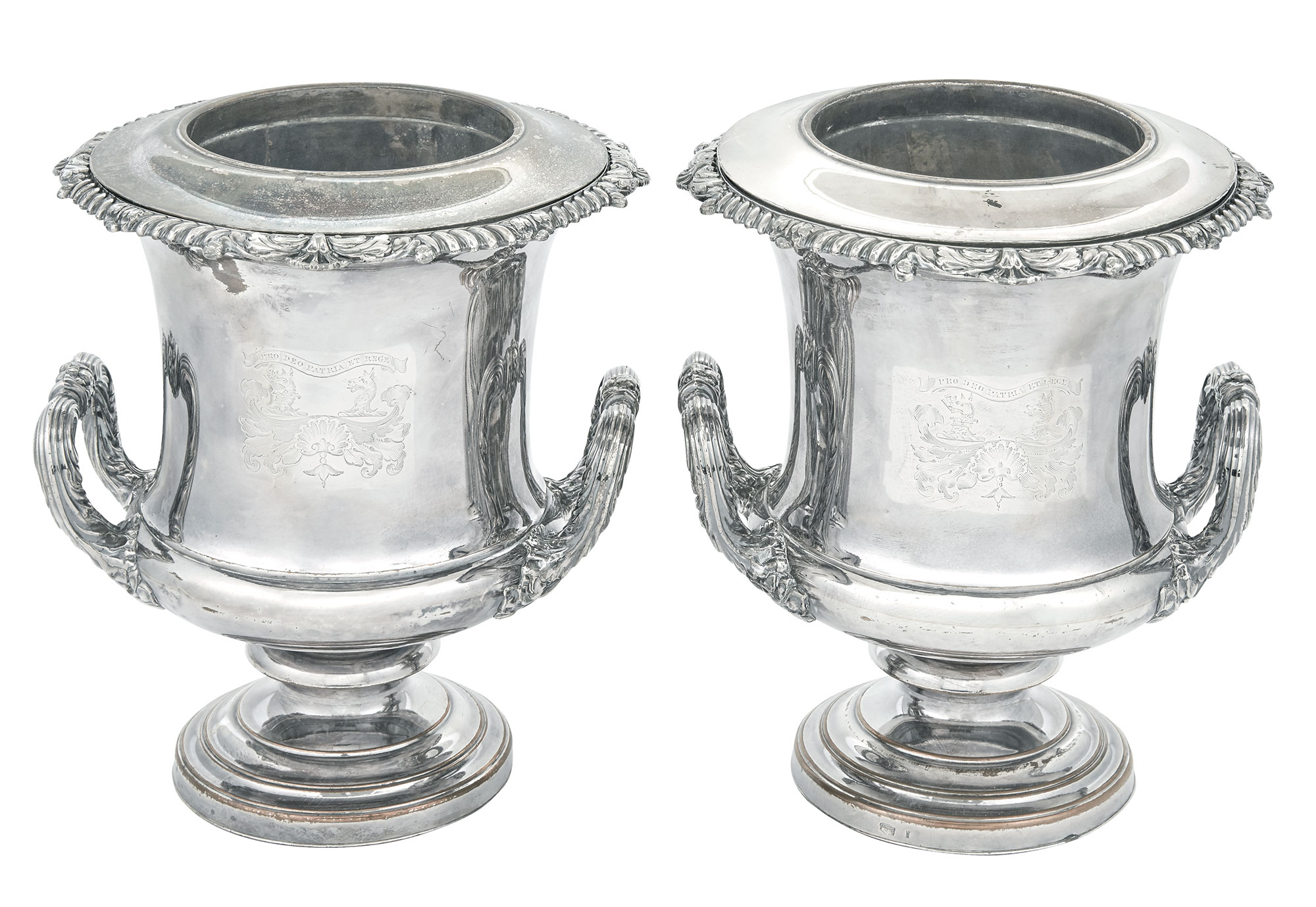 Lot image - Pair of Sheffield Plate Wine Coolers