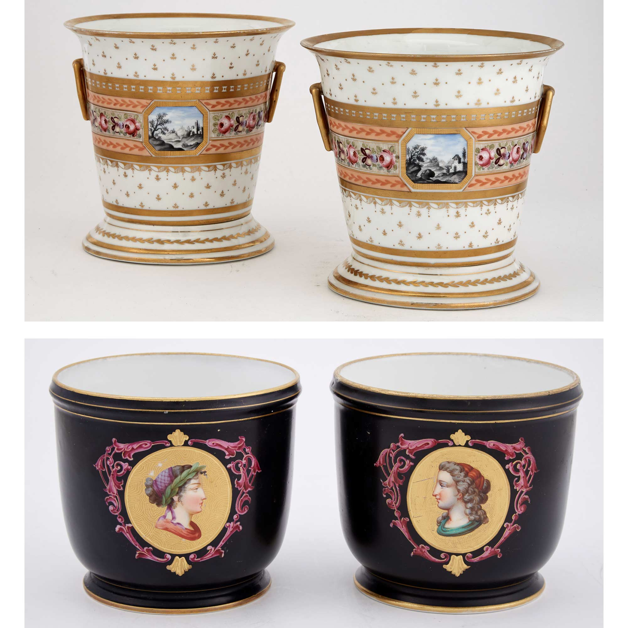 Lot image - Pair of Paris Porcelain Gilt-Decorated Cache-Pots on Stands; Together with a Pair of Sèvres Style Floral Decorated Black Ground Porcelain Cache-Pots
