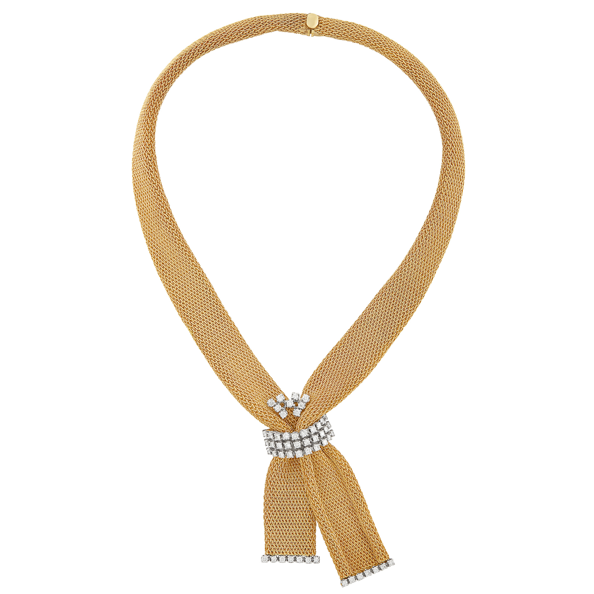 Lot image - Gold and Diamond Mesh Necklace