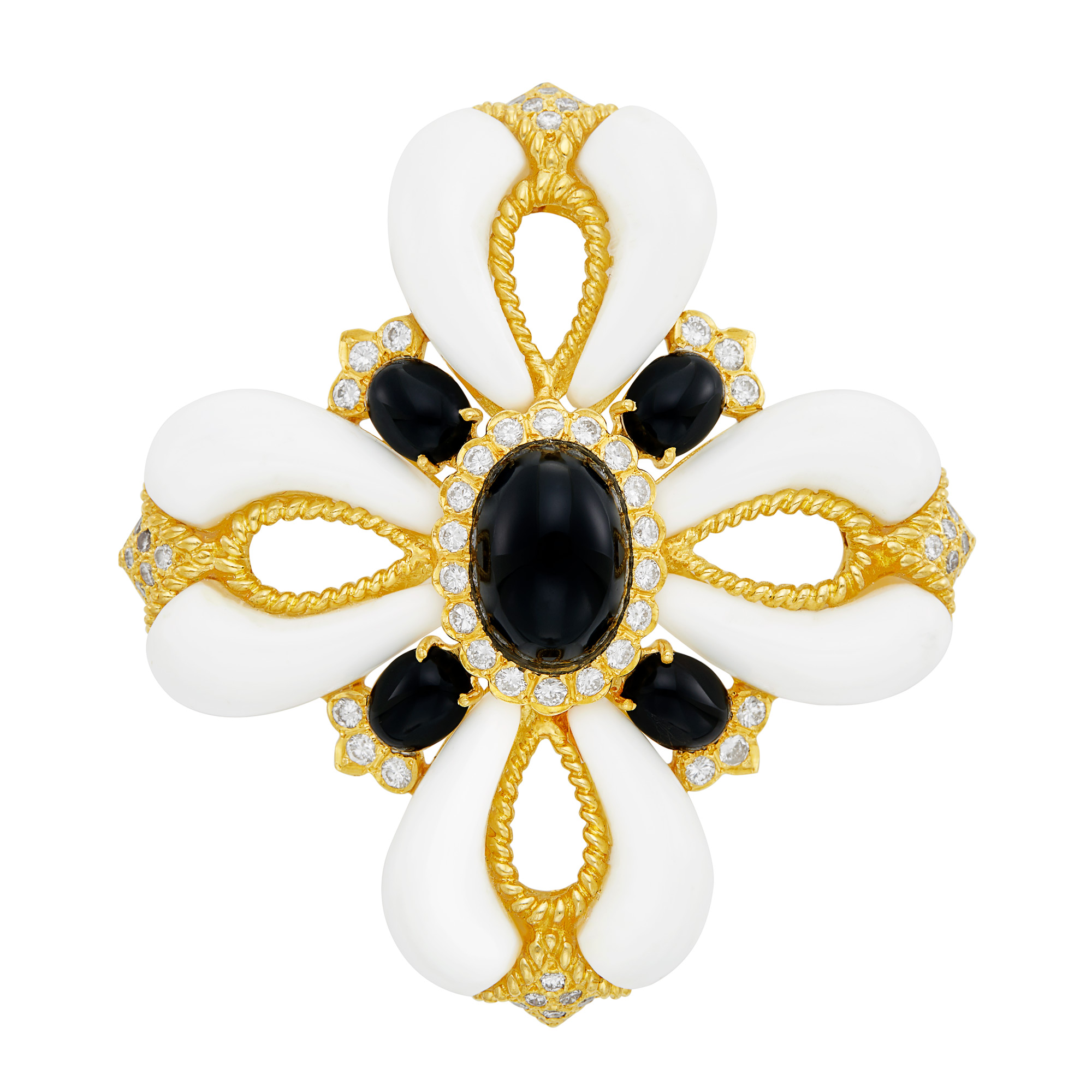 Lot image - Gold, White and Black Onyx and Diamond Maltese Cross Pendant Clip-Brooch