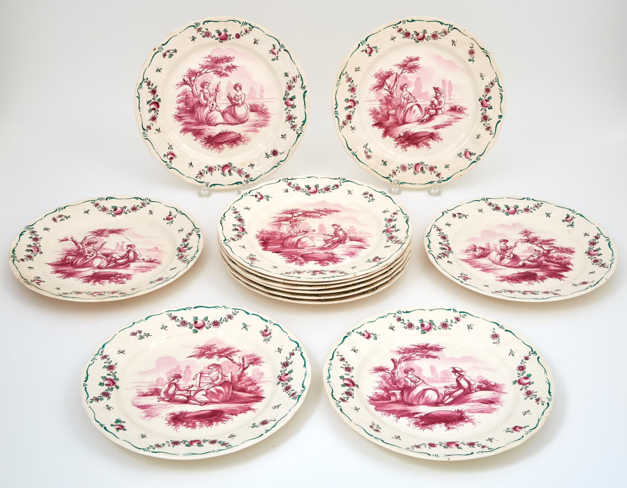 Lot image - Set of Twelve French Hand-Painted Porcelain Plates
