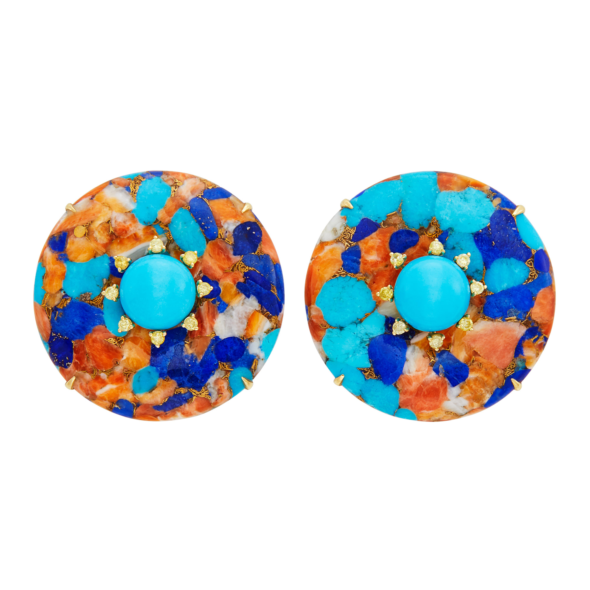 Lot image - Pair of Gold, Lapis, Coral and Turquoise Aggregate, Turquoise and Yellow Diamond Earclips