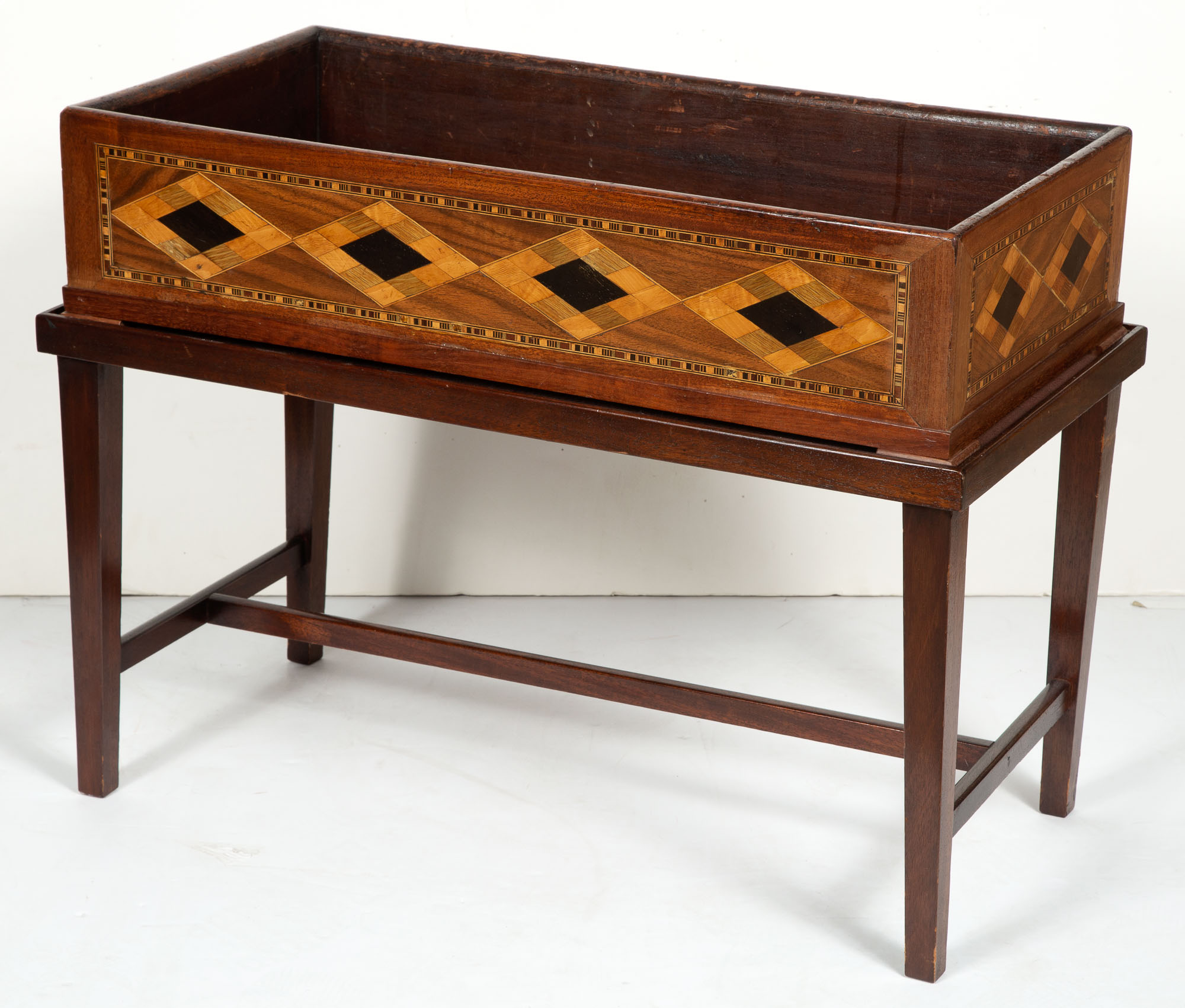 Lot image - Continental Mahogany and Parquetry Jardinière on Later Stand