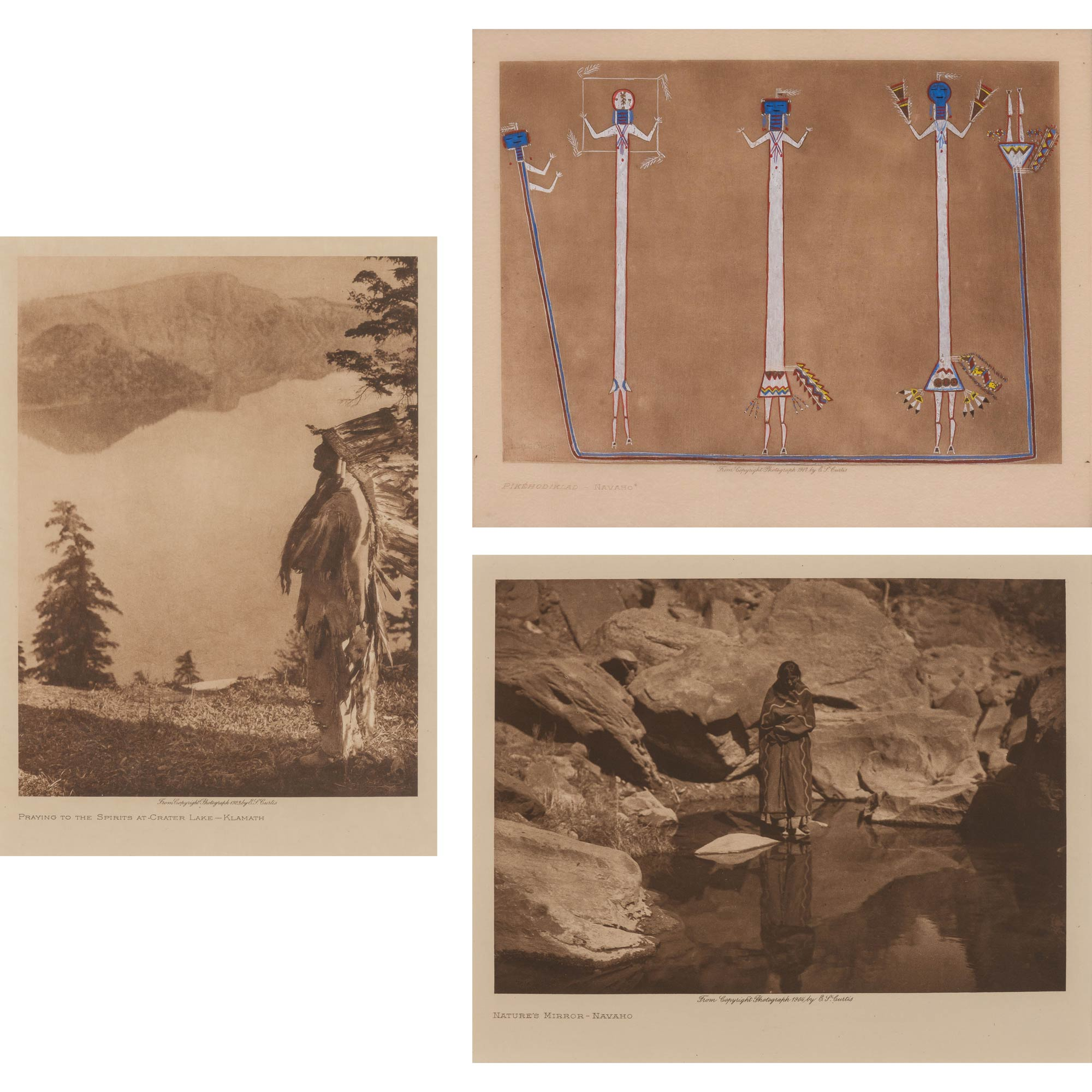 Lot image - CURTIS, EDWARD SHERRIFF (1868-1952)  Three photogravures, one hand-colored.