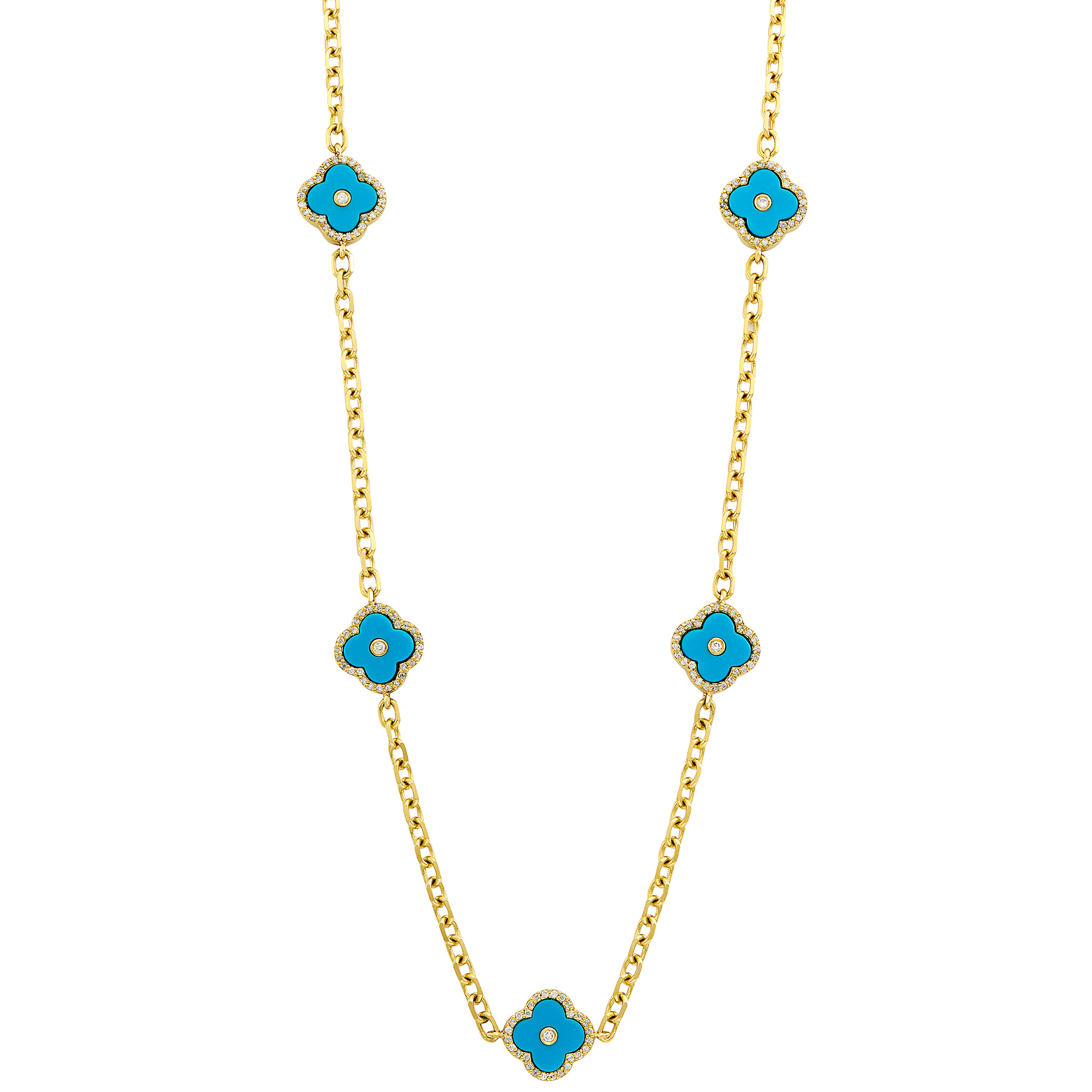 Lot image - Long Gold, Turquoise Composite and Diamond Chain Necklace