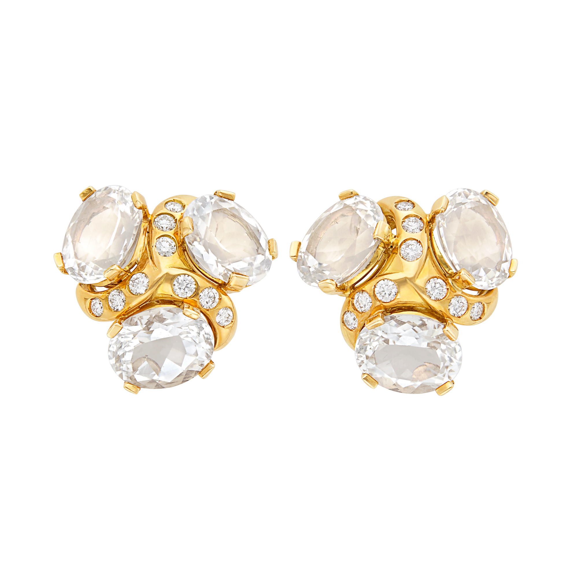 Lot image - Pair of Gold, Rock Crystal and Diamond Earclips, Verdura