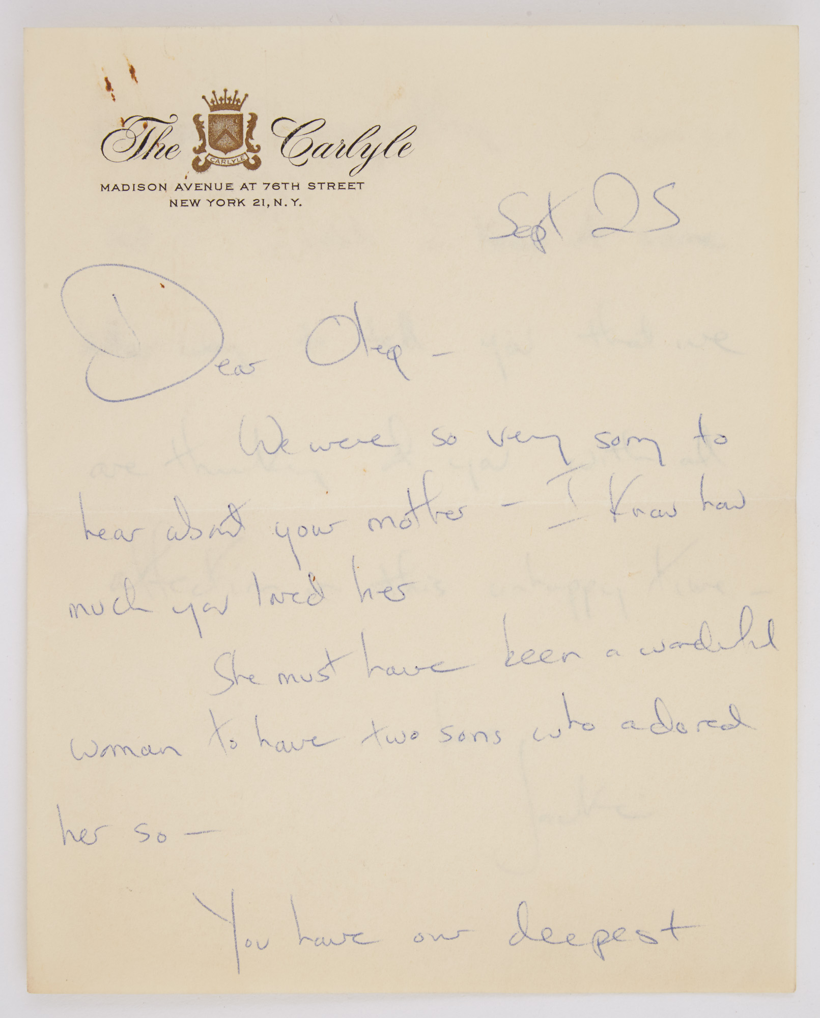 Lot image - KENNEDY, JACQUELINE as FIRST LADY  Autograph letter signed to Oleg Cassini upon the death of his mother.
