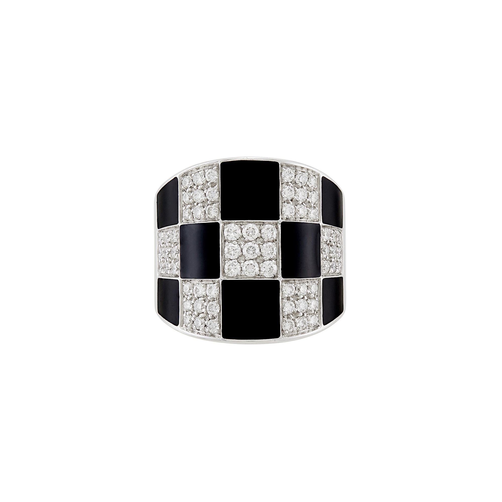 Lot image - Wide White Gold, Diamond and Black Enamel Ring, Enigma