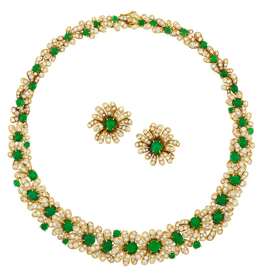 Lot image - Gold, Cabochon Emerald and Diamond Necklace and Pair of Earclips, Van Cleef & Arpels, France