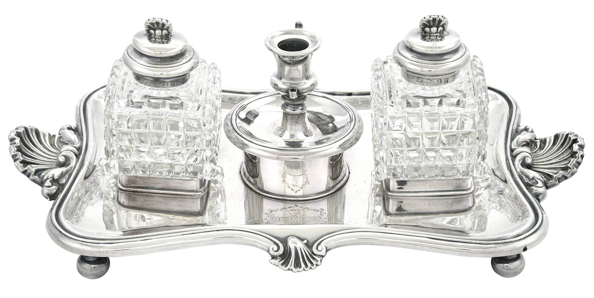 Lot image - George IV Sterling Silver Inkstand