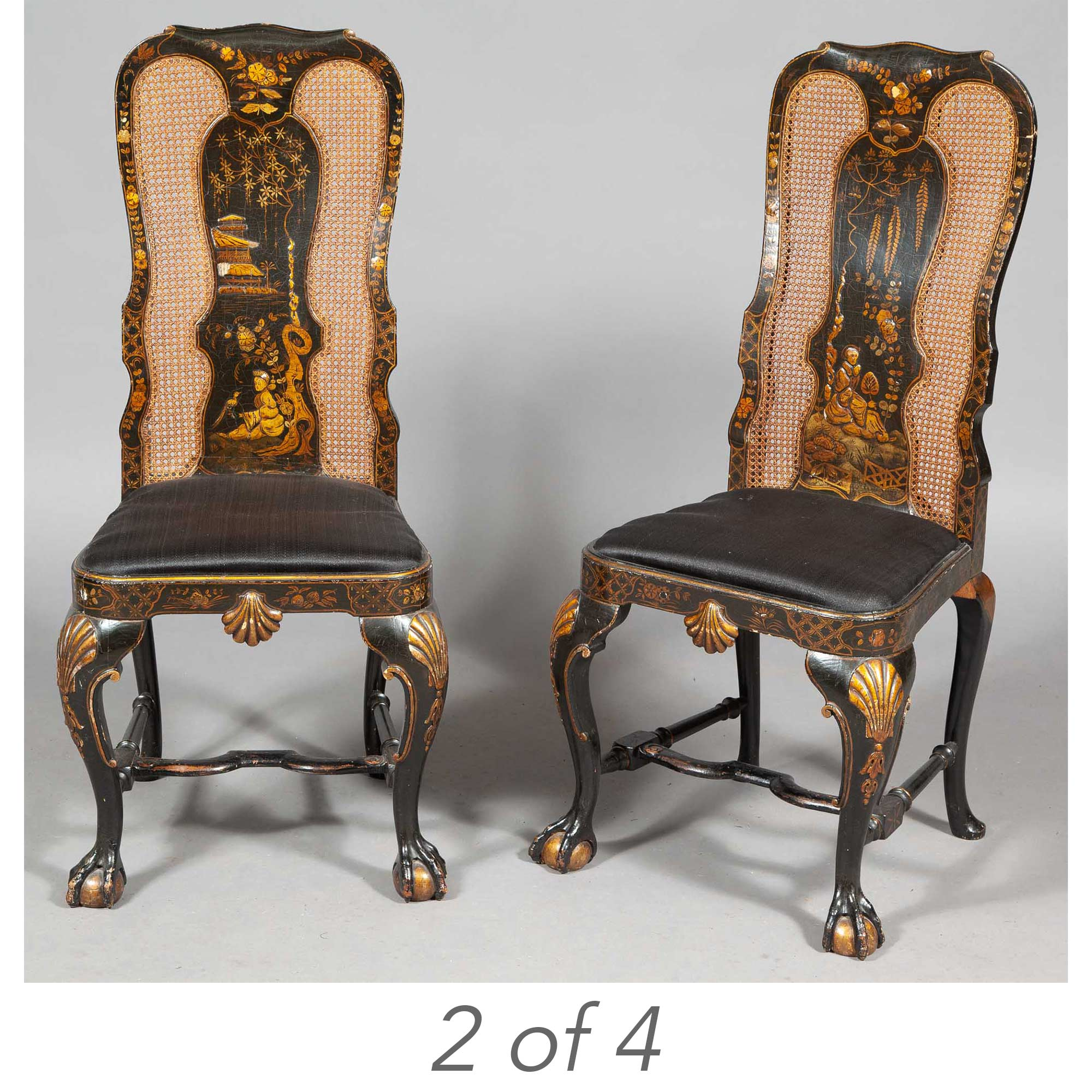 Lot image - Set of Four George II Style Black-Japanned, Parcel-Gilt and Caned Side Chairs in the style of Giles Grendey