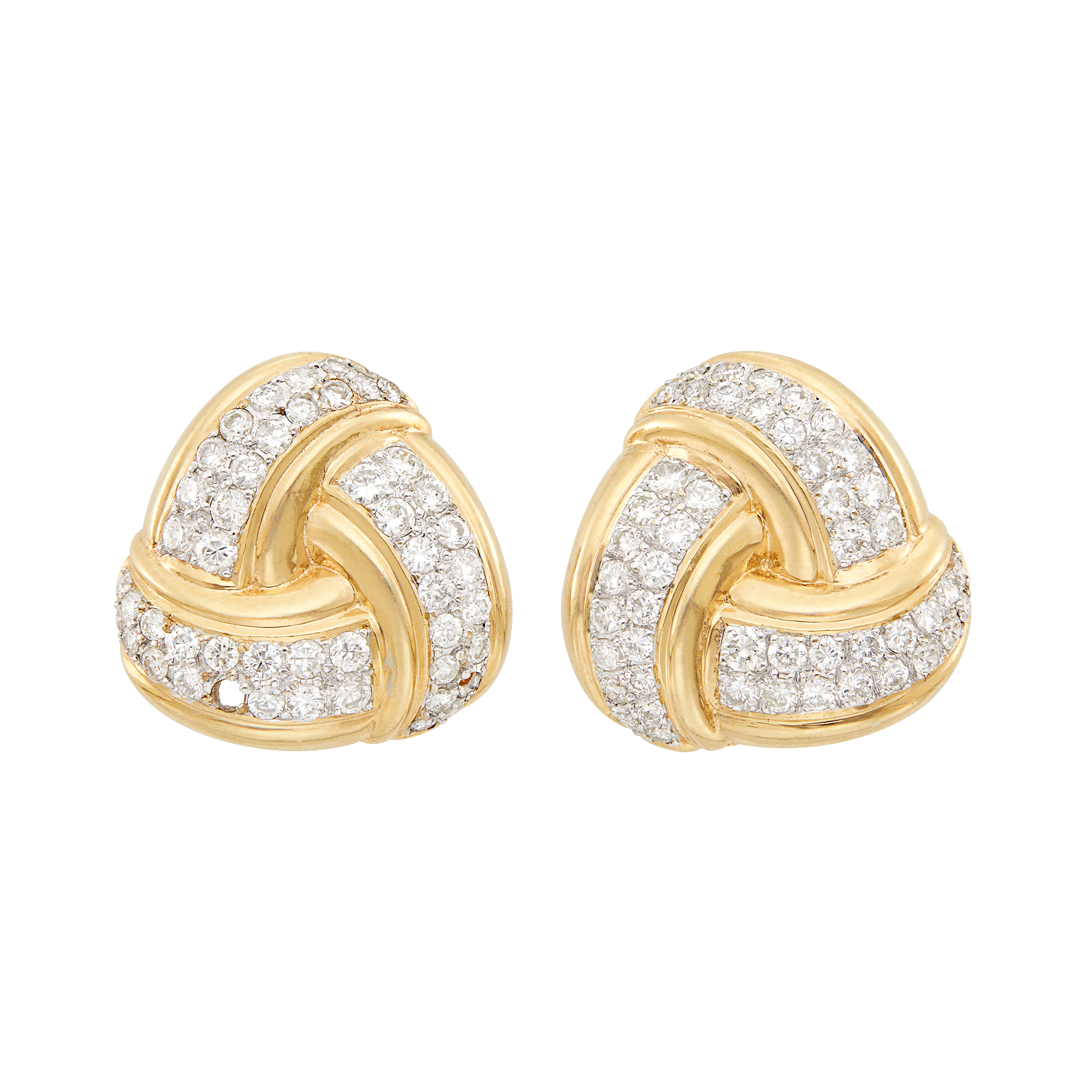 Lot image - Pair of Two-Color Gold and Diamond Knot Earrings
