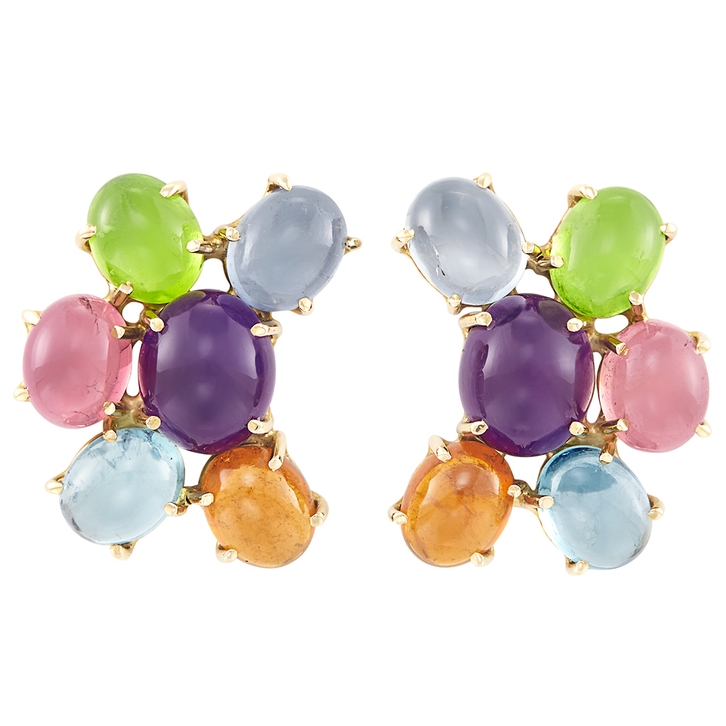 Lot image - Pair of Gold and Cabochon Colored Stone Cluster Earclips