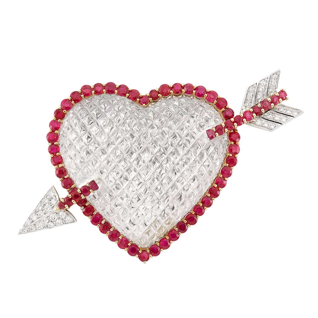 Lot image - Two-Color Gold, Carved Rock Crystal, Ruby and Diamond Heart Brooch, Sabbadini