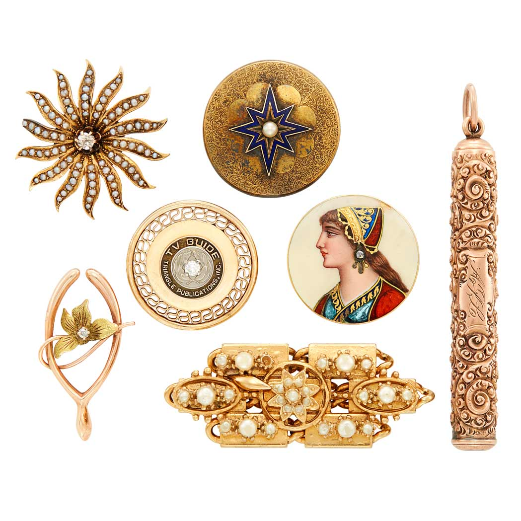 Lot image - Five Antique Gold, Low Karat Gold, Diamond, Pearl and Enamel Pins and Pencil and Gold TV Guide Pin