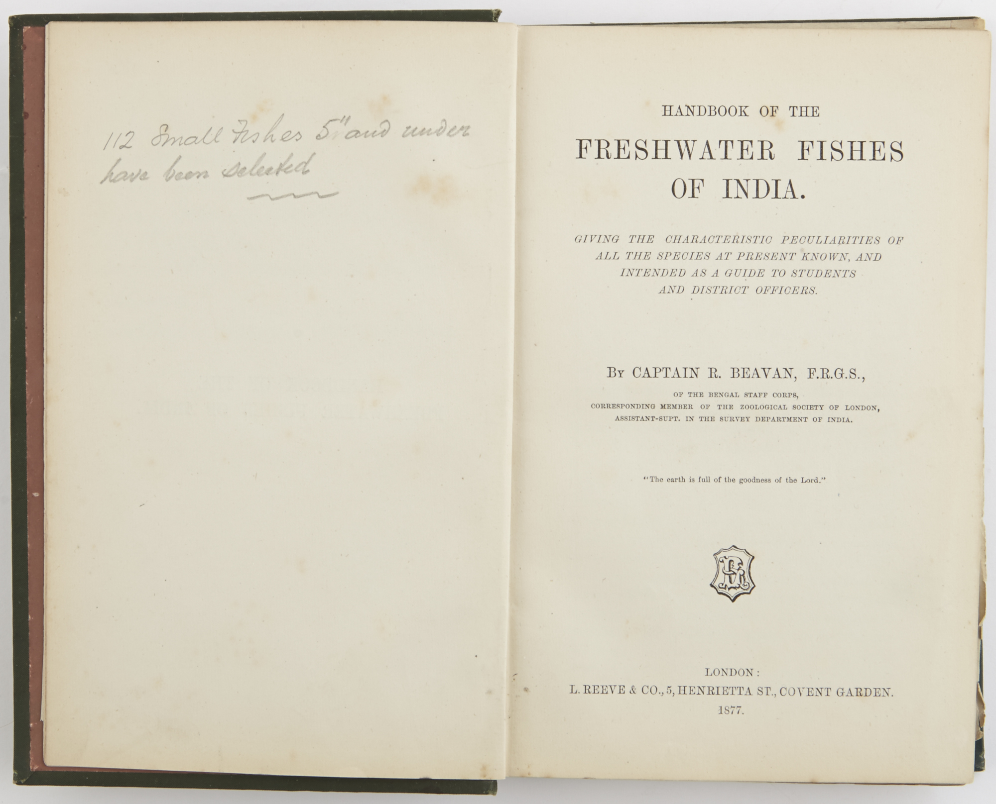 Lot image - BEAVAN, CAPTAIN R.  Handbook of The Freshwater Fishes of India...