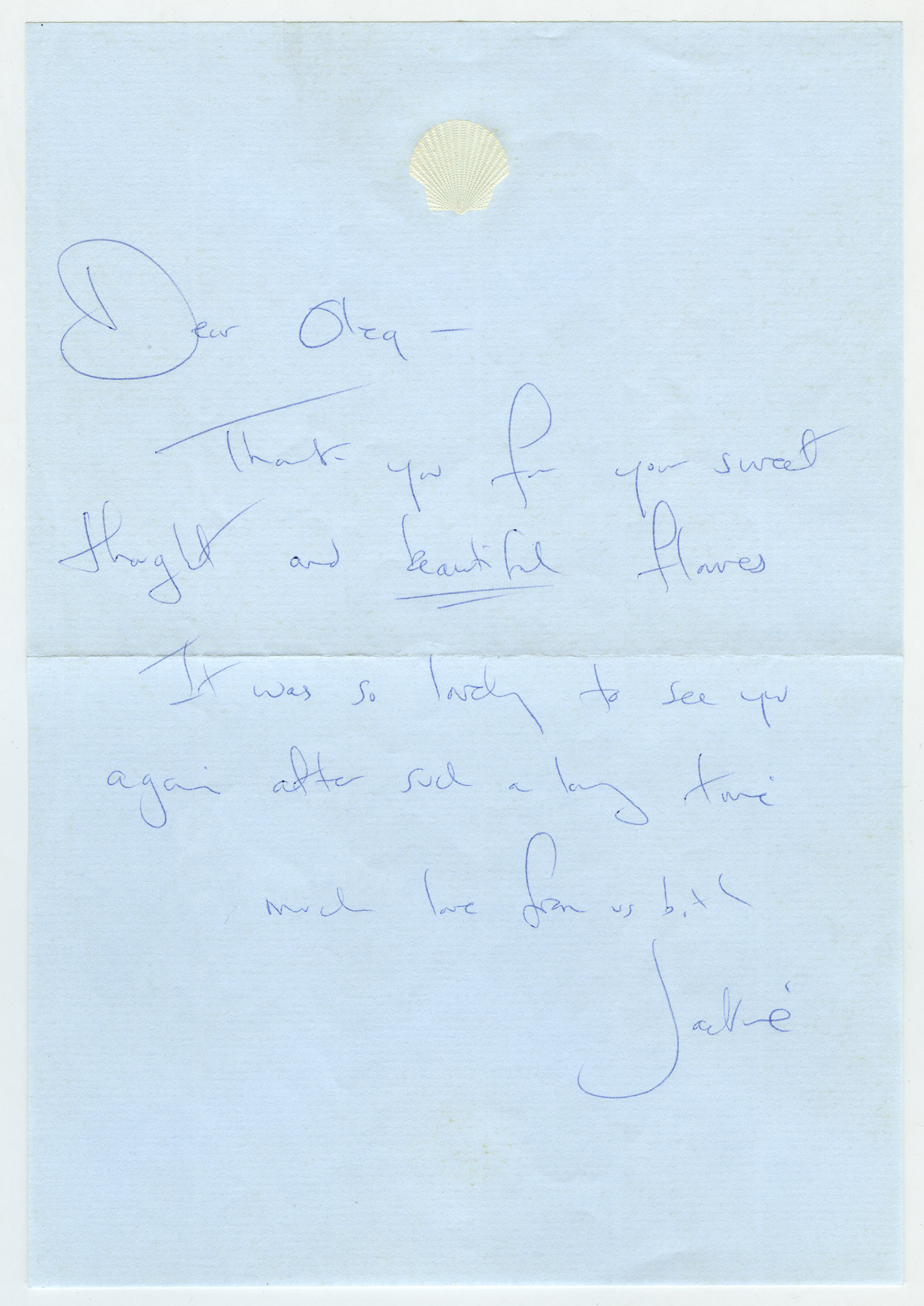 Lot image - KENNEDY ONASSIS, JACQUELINE  Autograph note signed to Oleg Cassini.