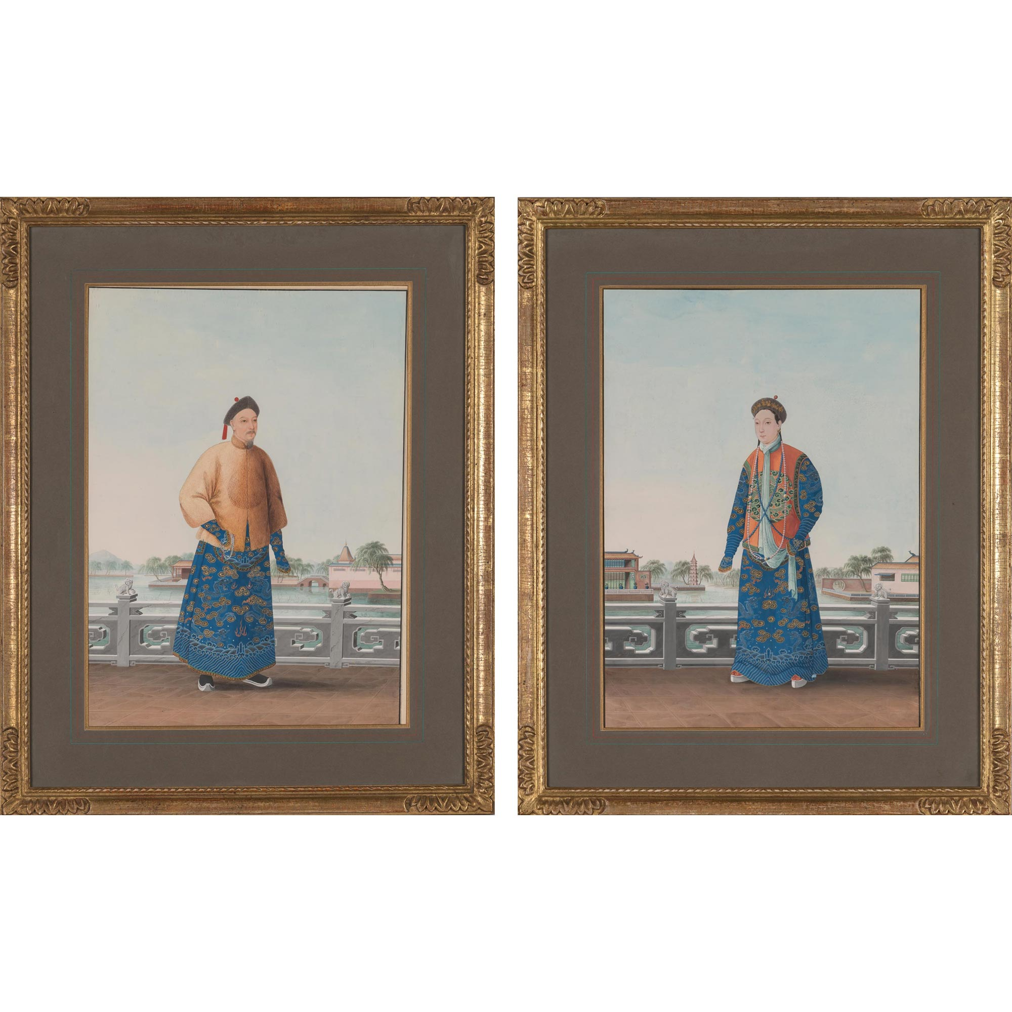 Lot image - Pair of Chinese Watercolors of a Manchu Prince and His Wife