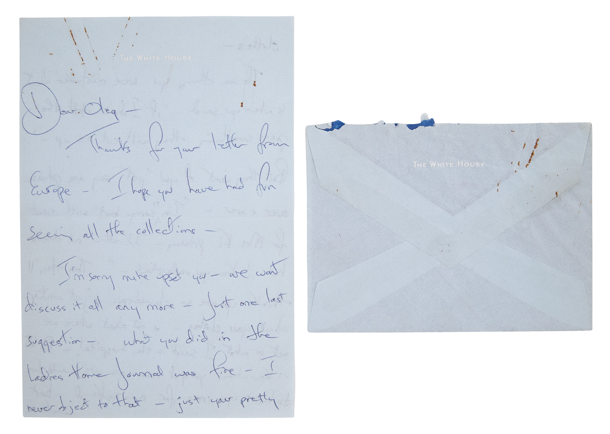 Lot image - KENNEDY, JACQUELINE as FIRST LADY  Autograph letter signed to Oleg Cassini regarding the press.