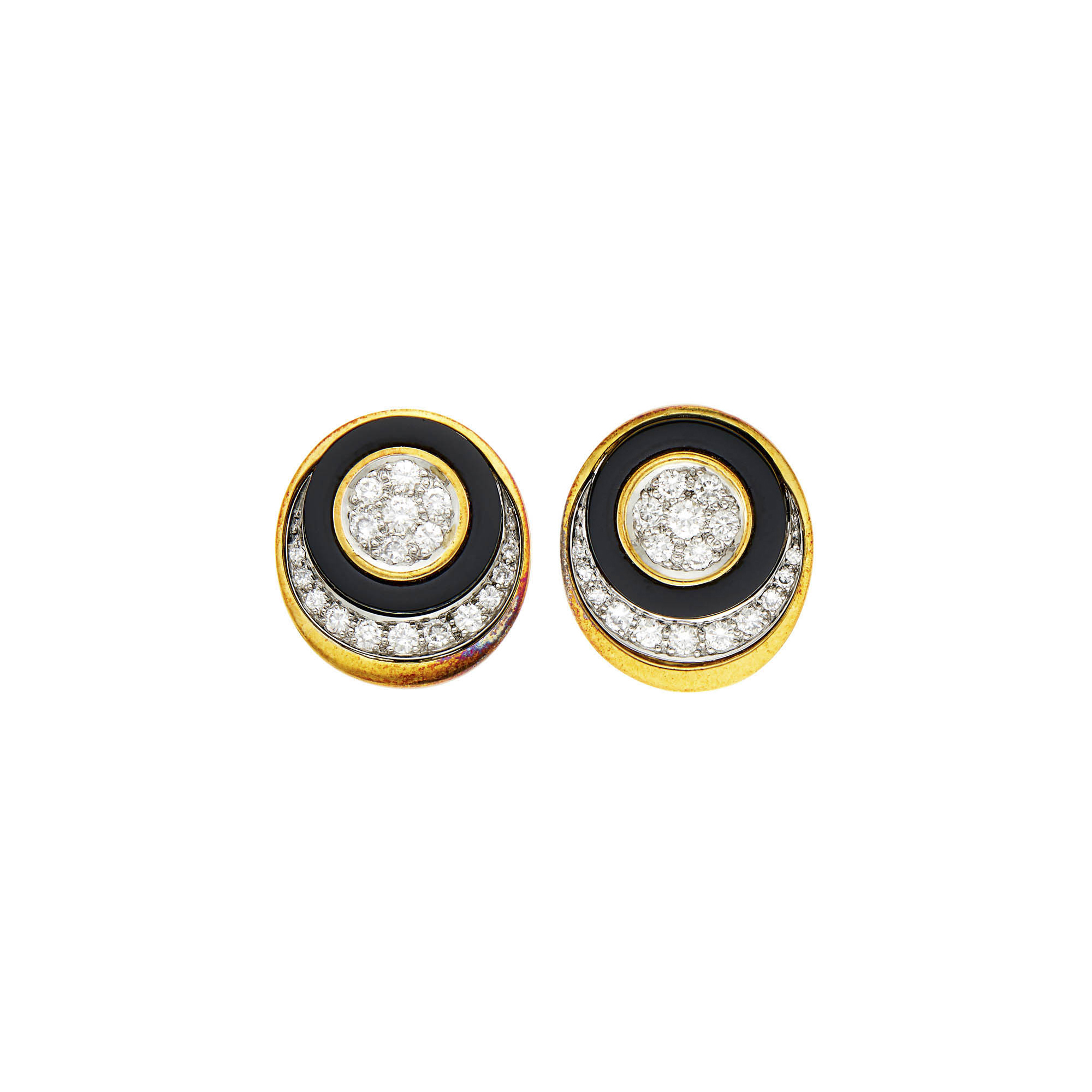 Lot image - Pair of Gold, Platinum, Black Onyx and Diamond Earclips
