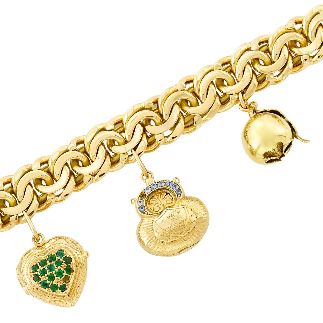 Lot image - Gold and Gem-Set Charm Bracelet