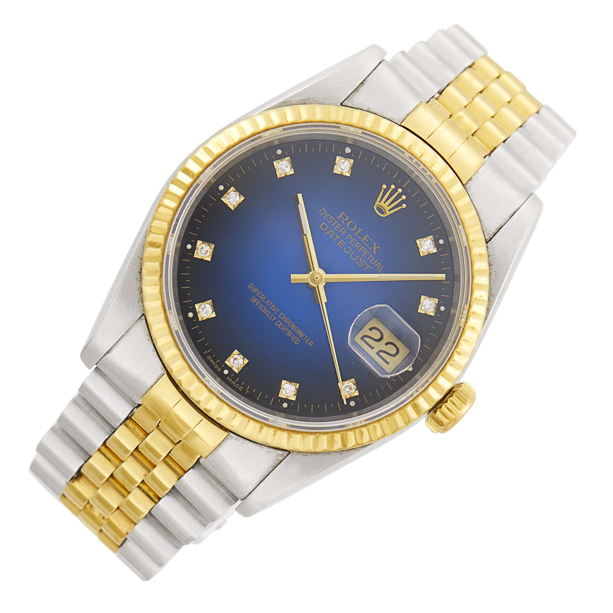 Lot image - Rolex Gentlemans Stainless Steel and Gold Oyster Perpetual DateJust Wristwatch, Ref. 16233