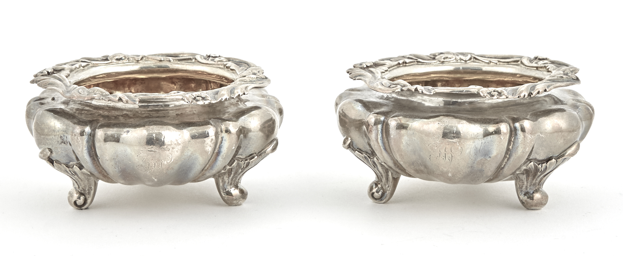 Lot image - Pair of William IV Sterling Silver Master Salt Cellars