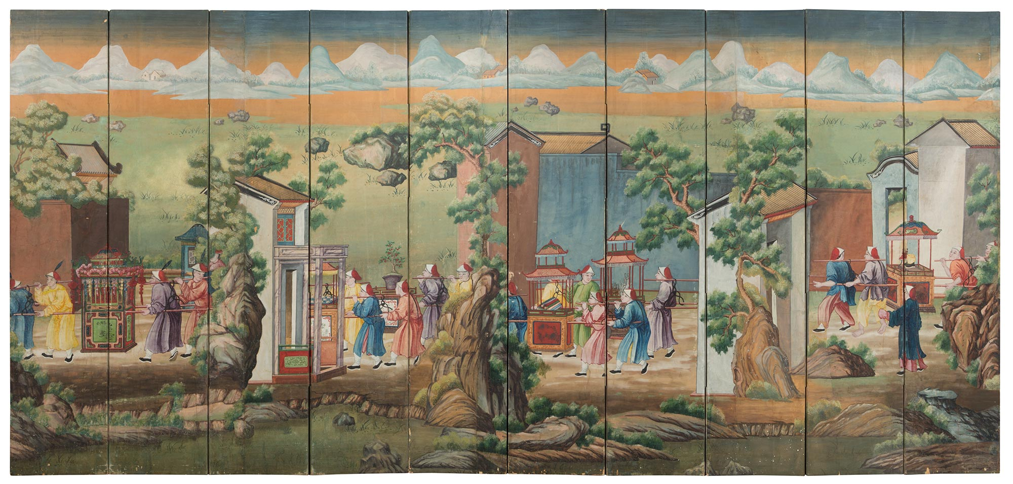 Lot image - Chinese Export Ten-Panel Painted Wallpaper Screen