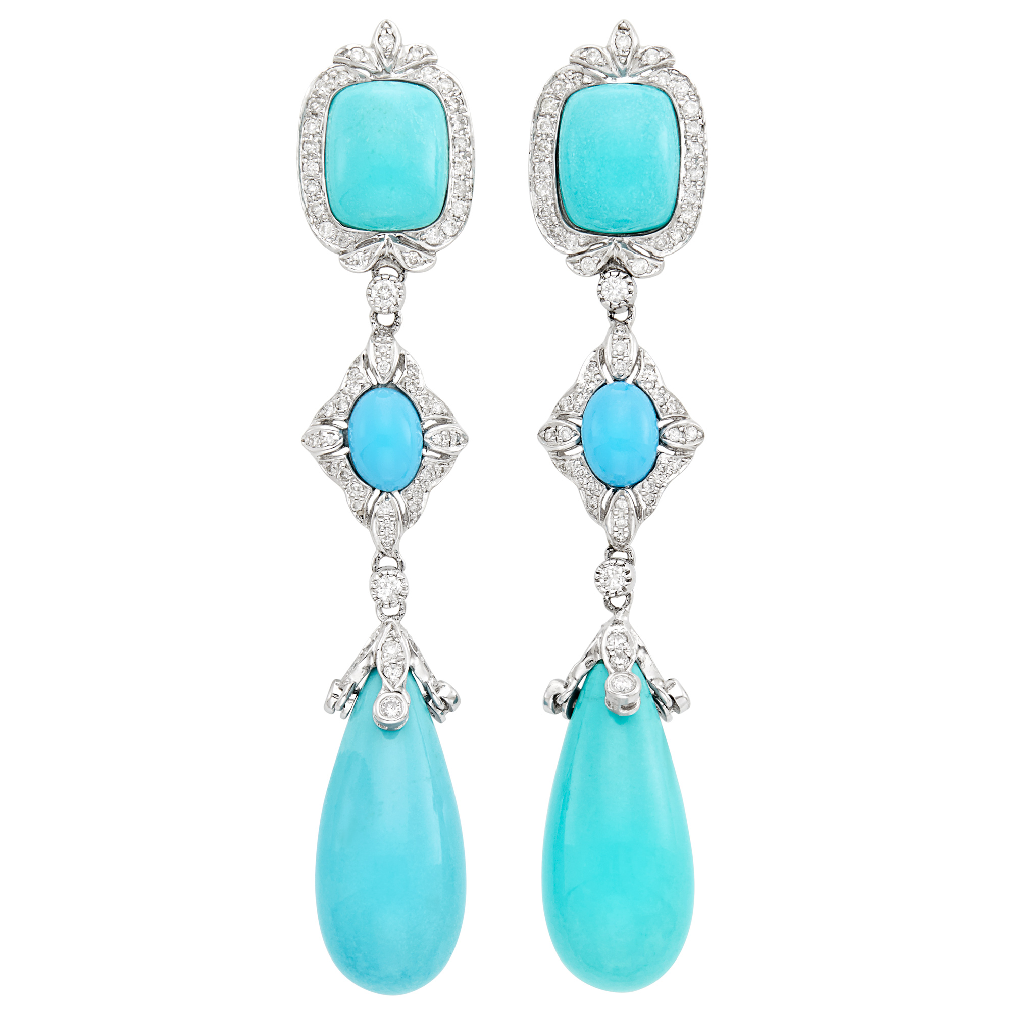 Lot image - Pair of White Gold, Turquoise and Diamond Pendant-Earrings