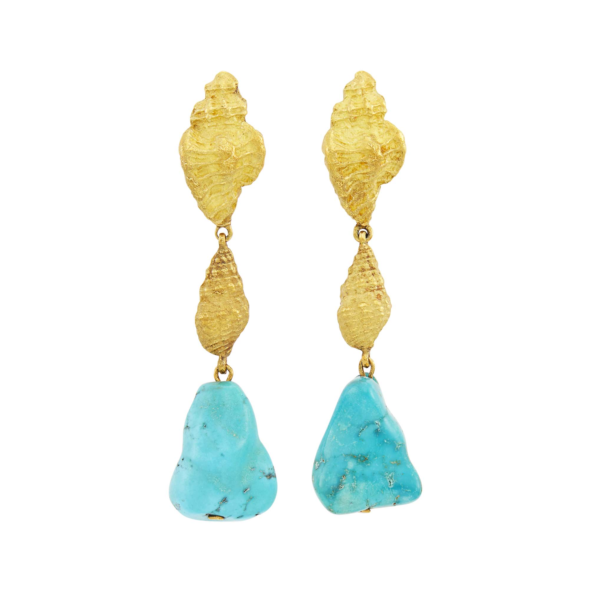 Lot image - David Webb Pair of Gold and Turquoise Nugget Pendant-Earclips