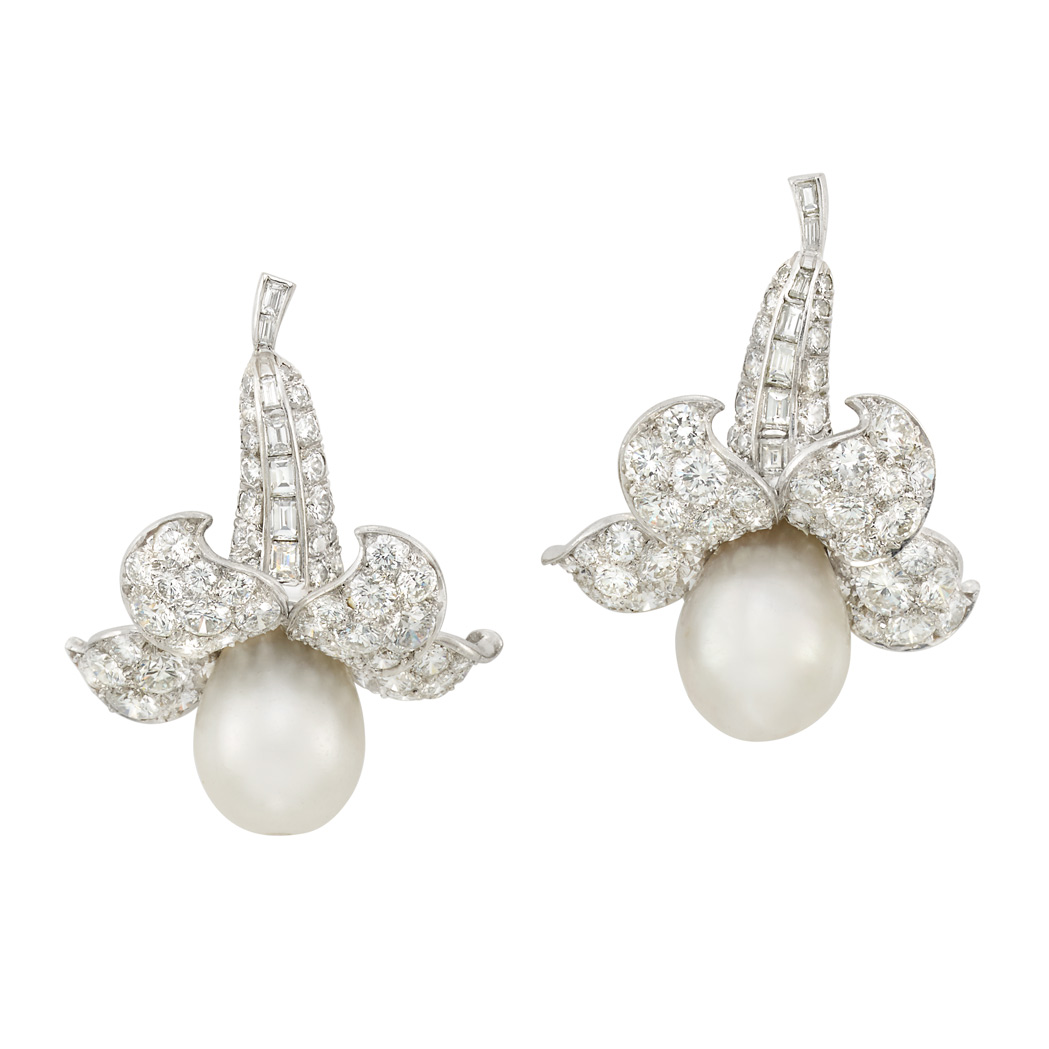 Lot image - Pair of Platinum, Natural Pearl and Diamond Flower Earclips, Van Cleef & Arpels