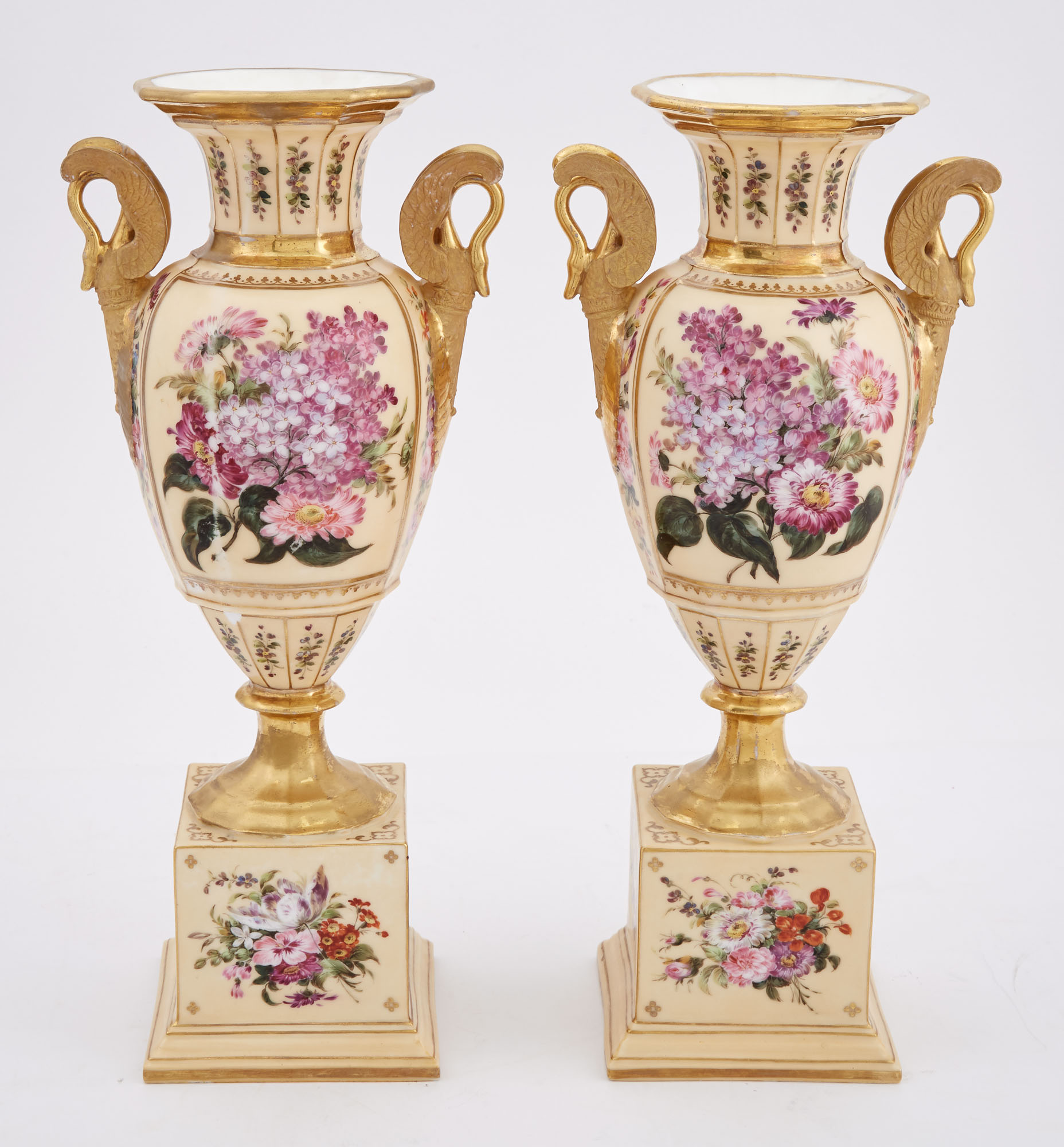 Lot image - Pair of Paris Porcelain Gilt and Floral Decorated Two-Handled Vases