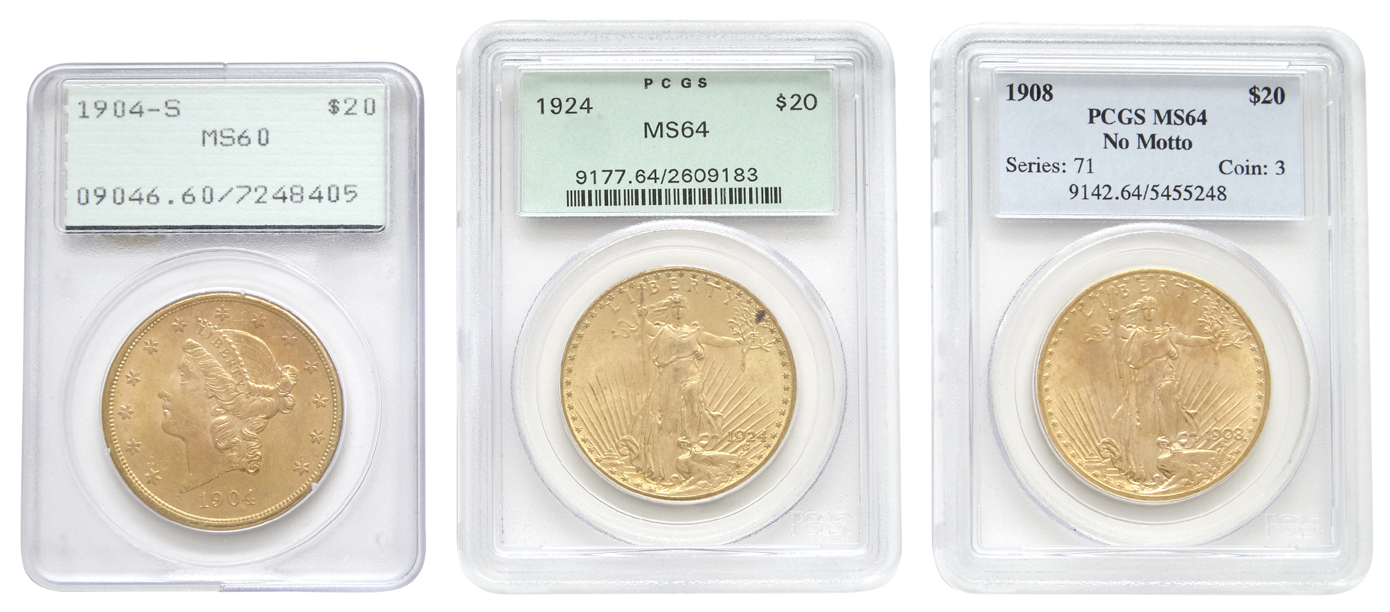 Lot image - United States Three $20 Gold Coins PCGS Graded