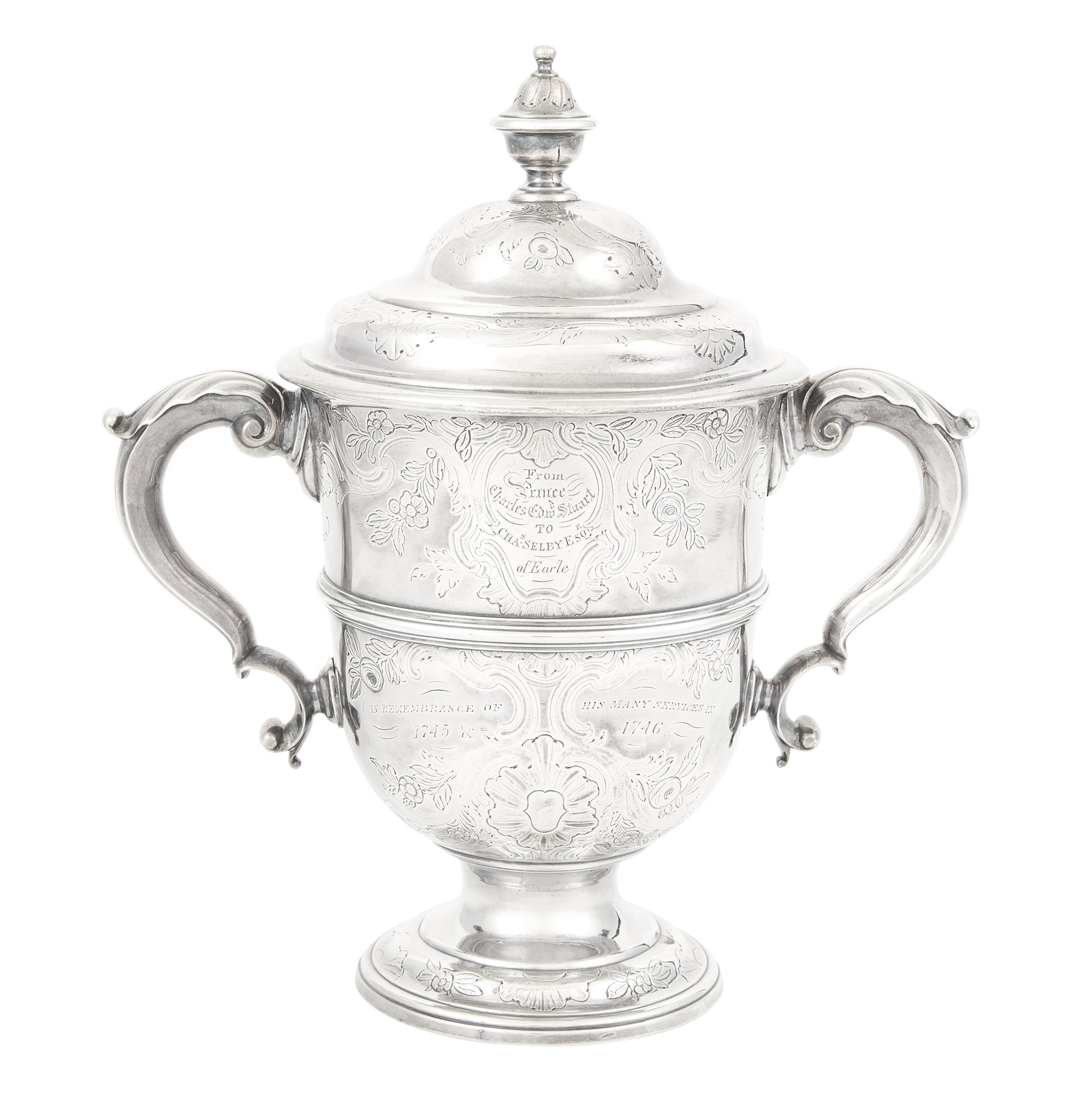 Lot image - George II Sterling Silver Covered Two Handle Cup