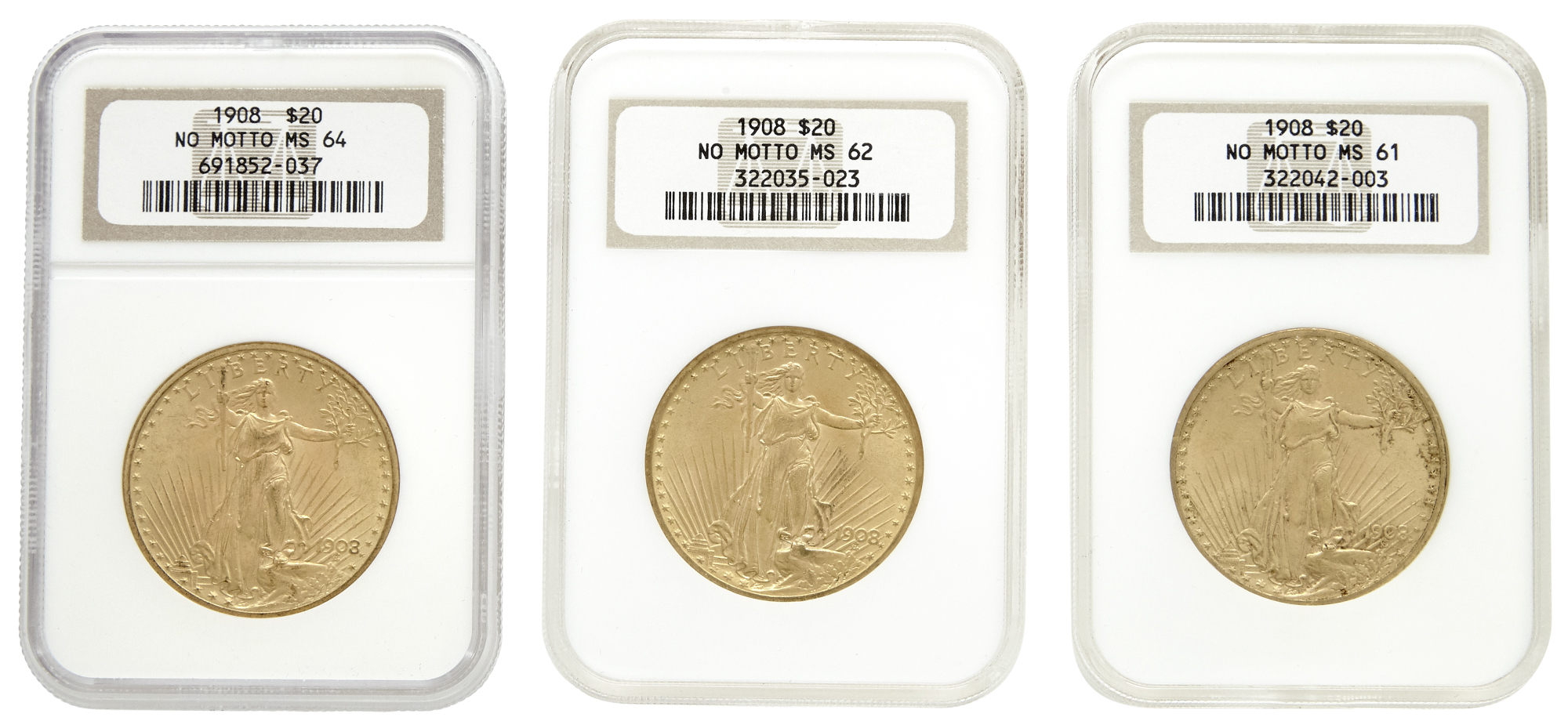 Lot image - United States Three St. Gauden $20 Gold Coins NGC Graded