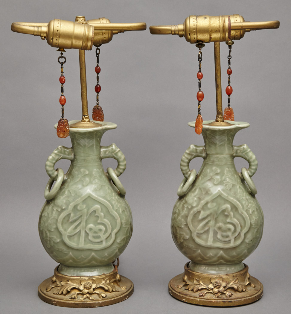 Lot image - Two Similar Chinese Celadon Glazed Vases