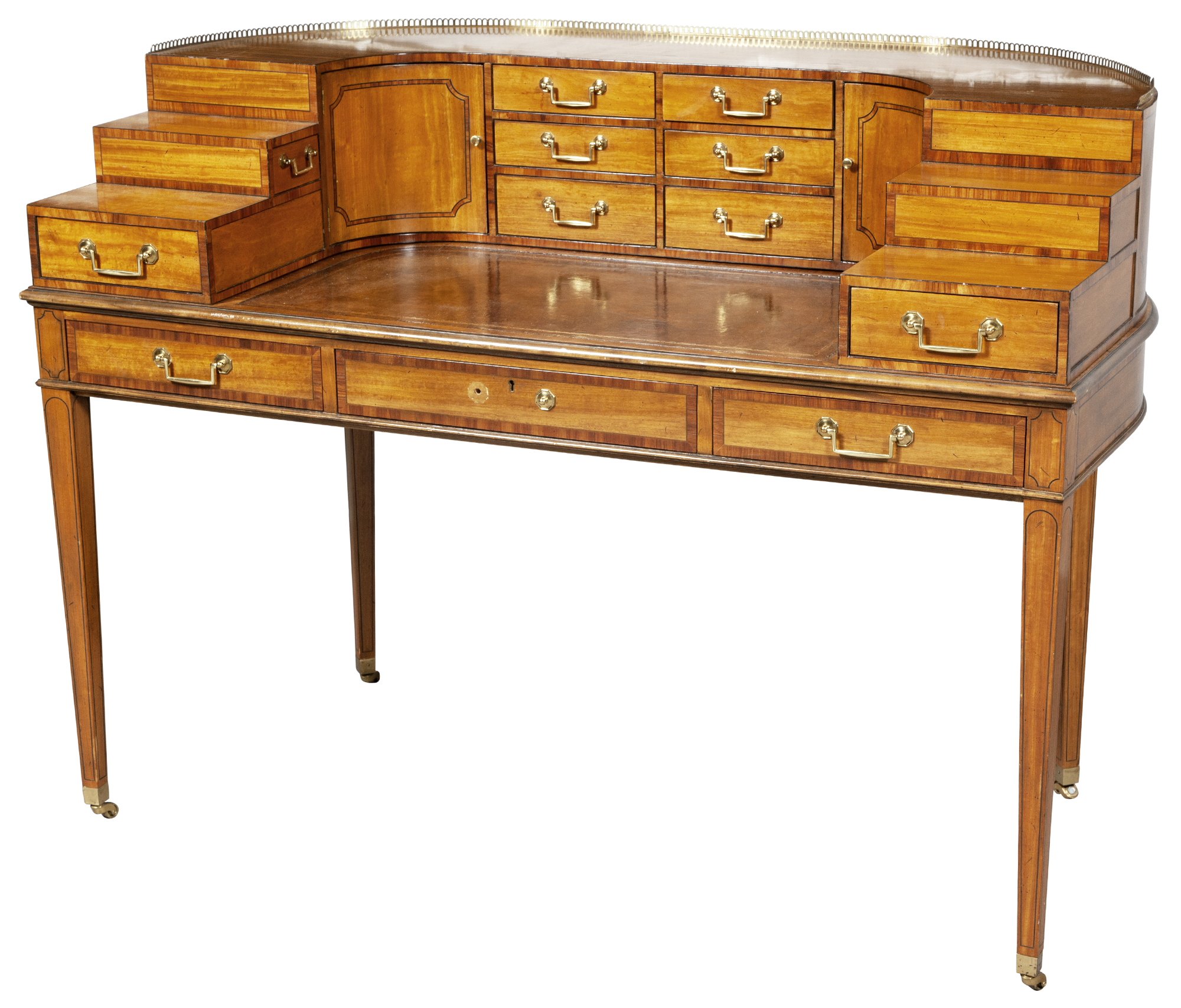 Lot image - George III Style Inlaid Satinwood Carlton House Desk