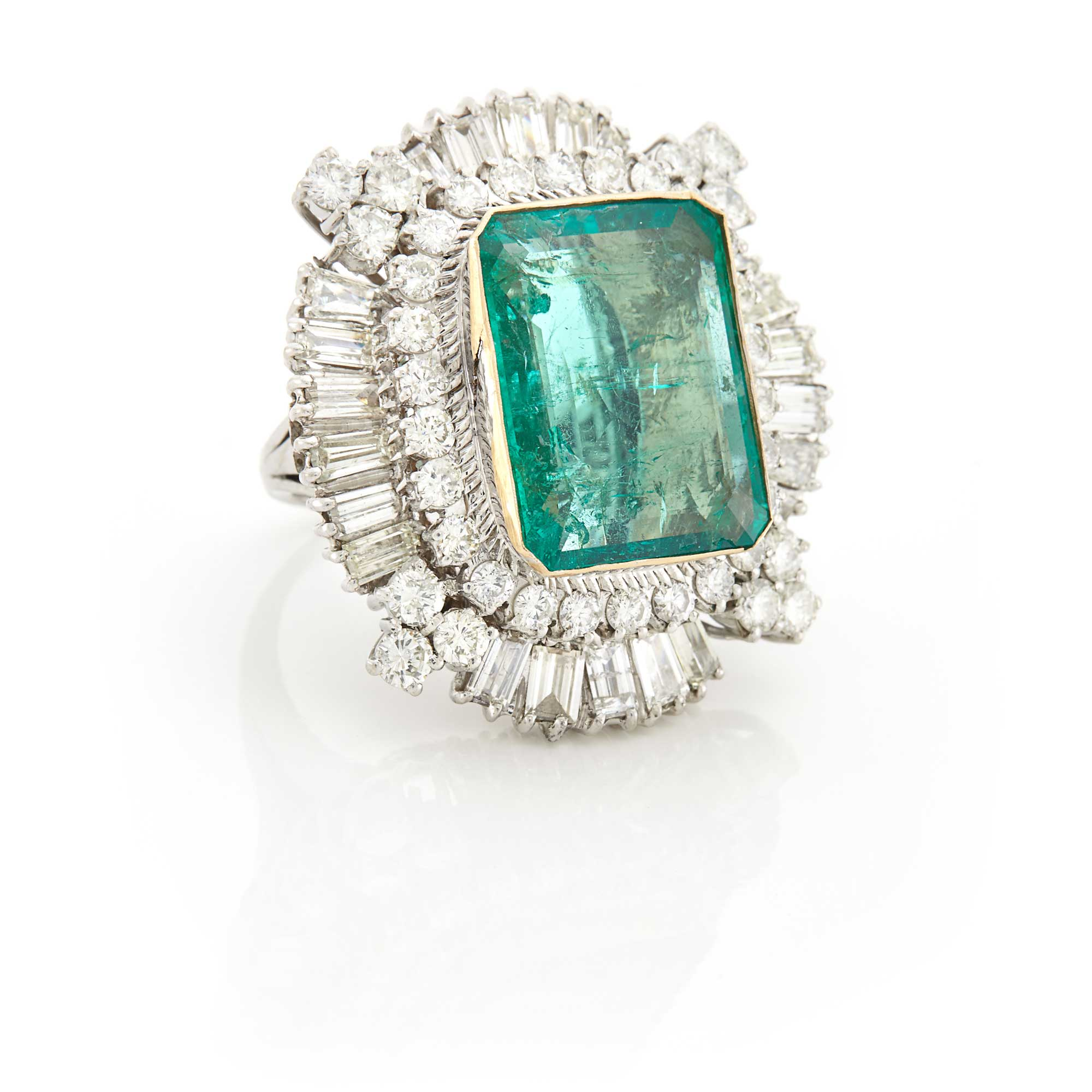 Lot image - White Gold, Emerald and Diamond Ring
