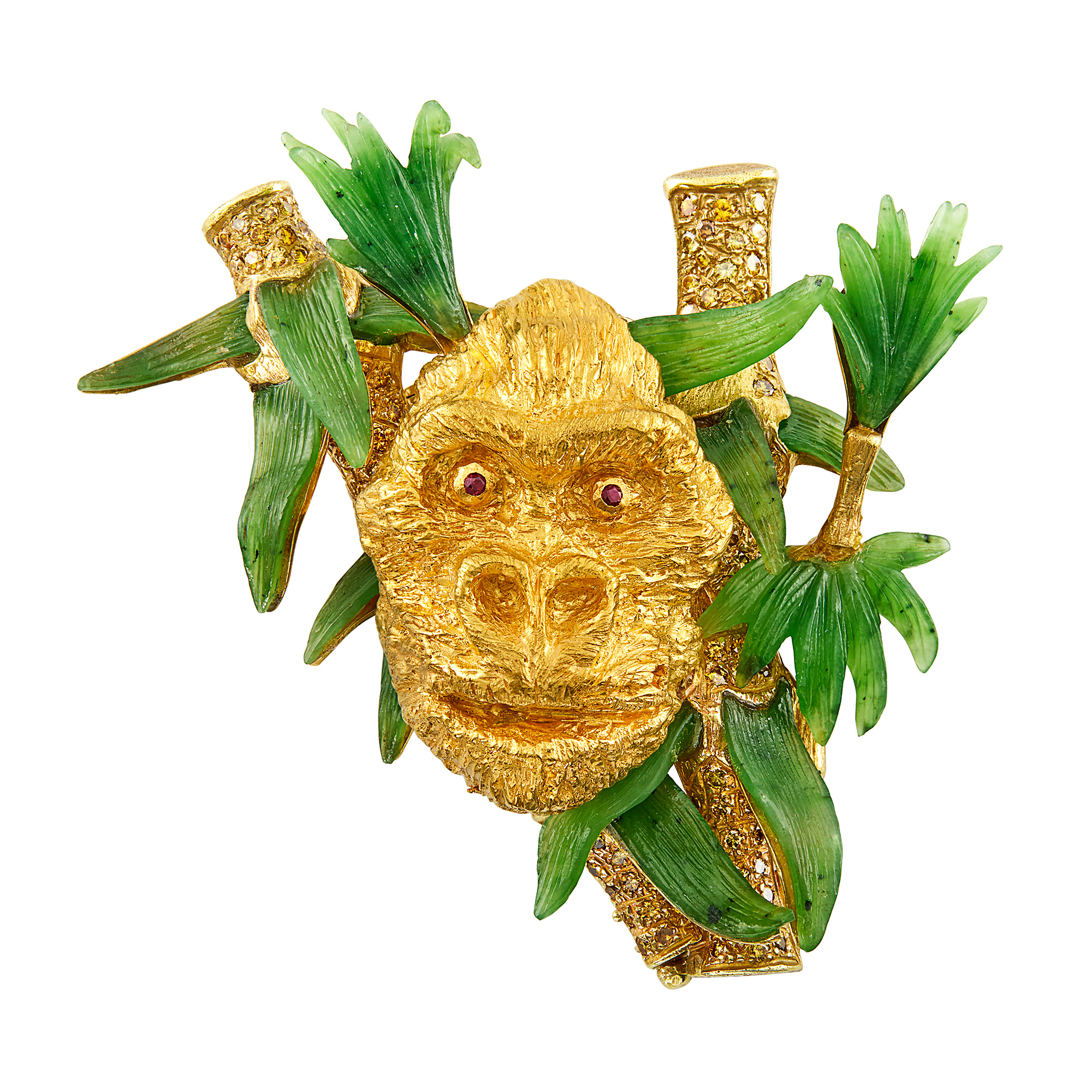 Lot image - High Karat Gold, Gold, Carved Nephrite and Colored Diamond Gorilla Clip-Brooch, Anthony J. Obara, Jr.