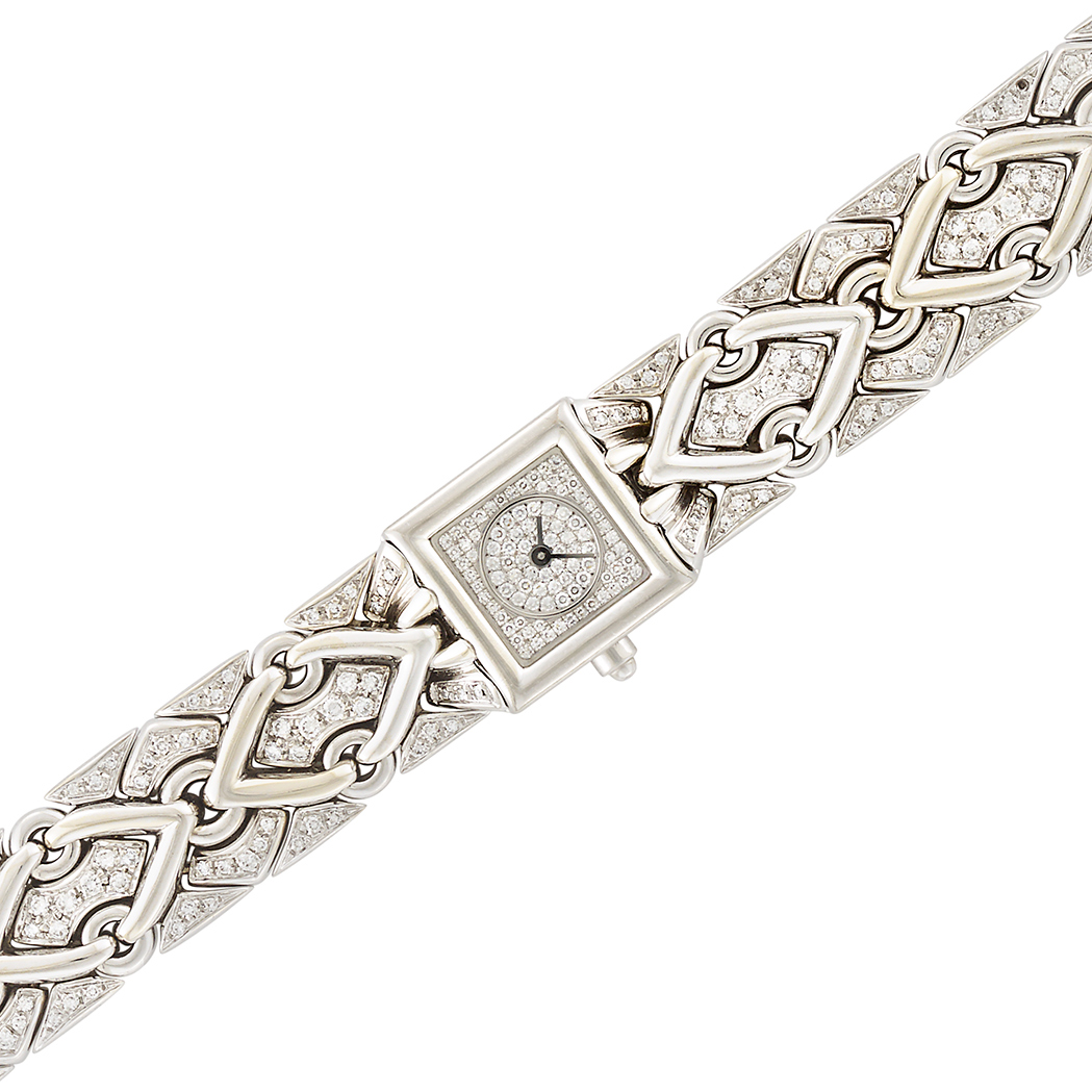 Lot image - White Gold and Diamond Trika Wristwatch, Bulgari