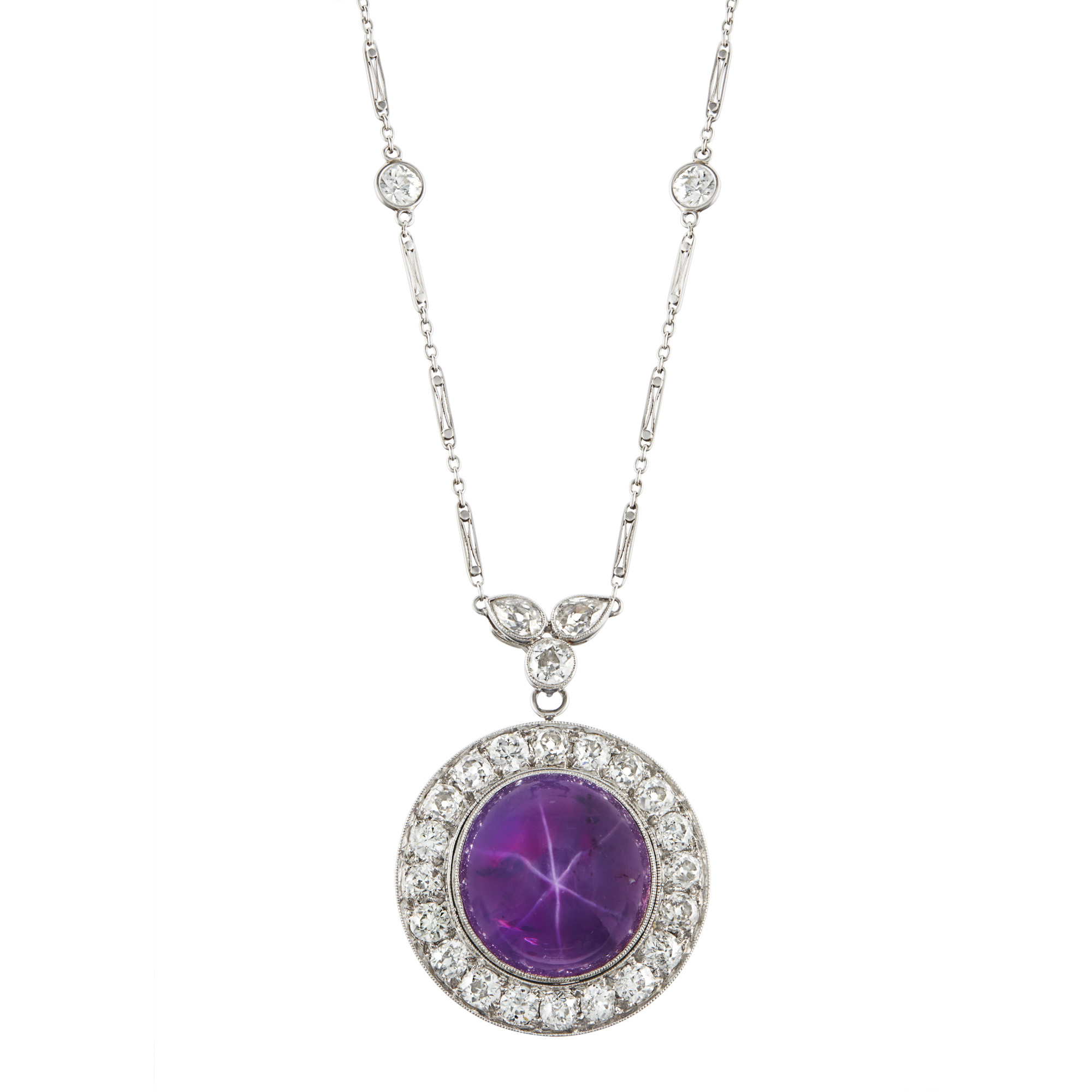 Lot image - Platinum, Purple Star Ruby and Diamond Pendant Necklace