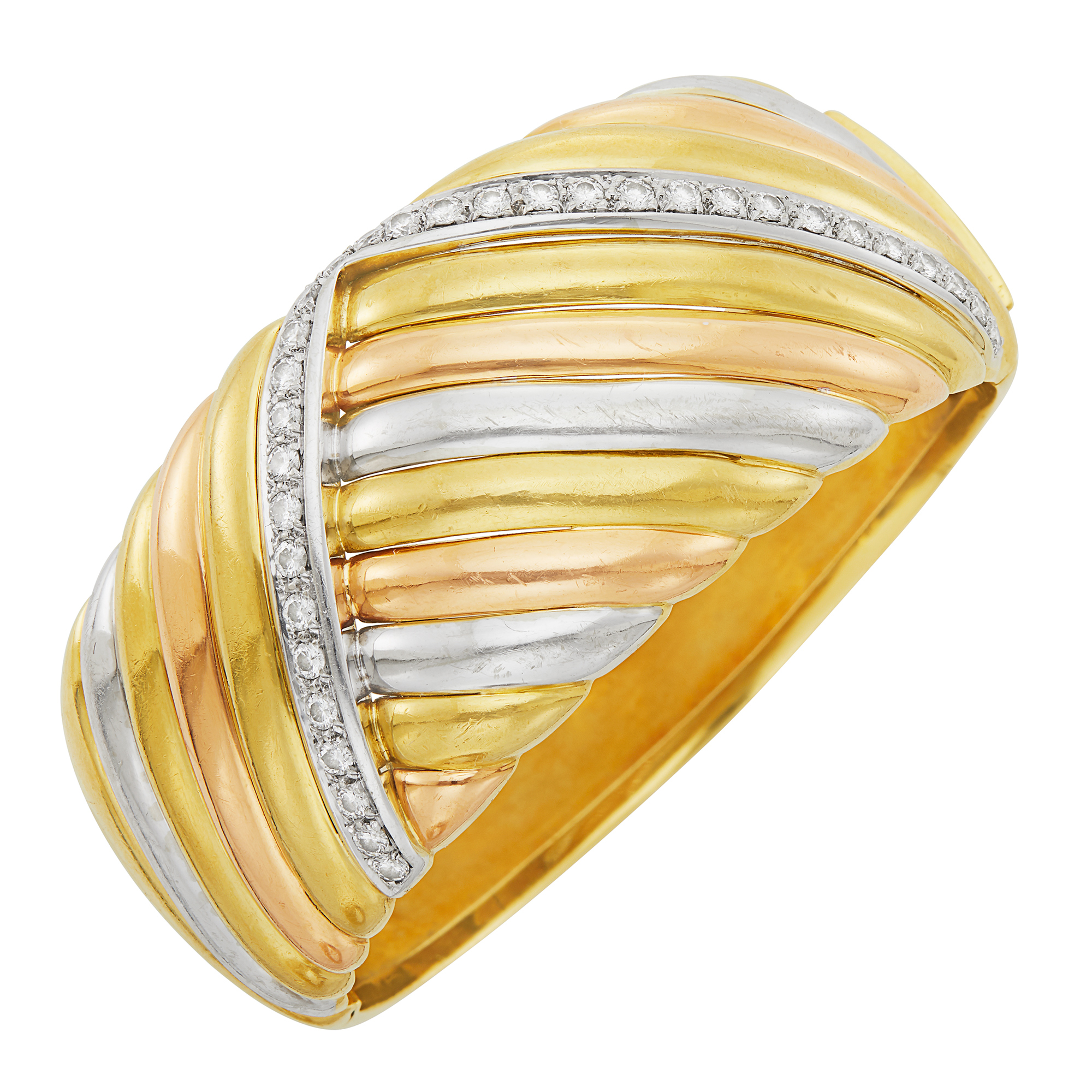 Lot image - Tricolor Gold and Diamond Cuff Bangle Bracelet