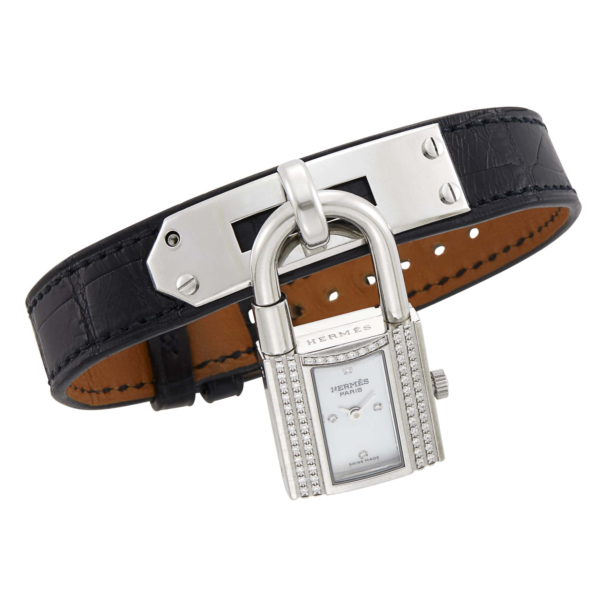 Lot image - Hermès Paris Leather, Stainless Steel and Diamond Kelly Lock Watch Bracelet
