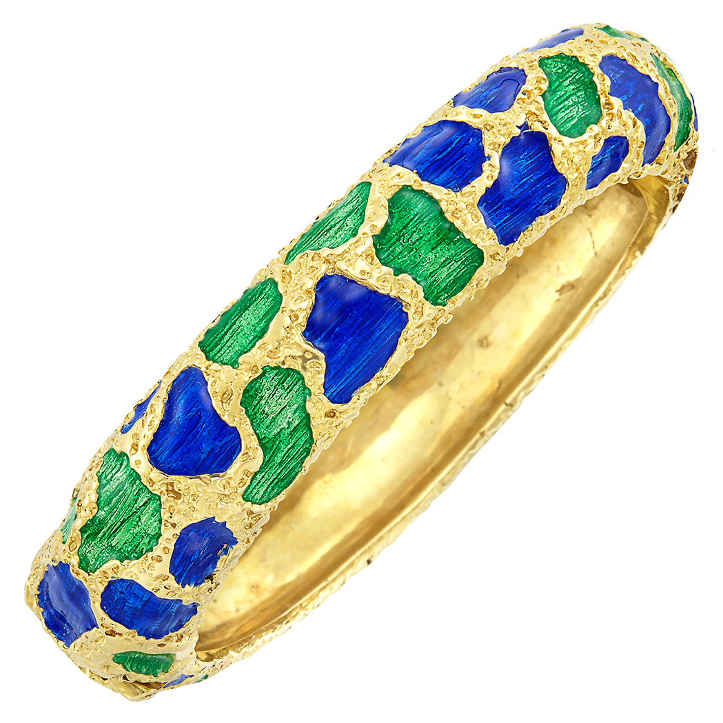 Lot image - Gold and Enamel Bangle Bracelet