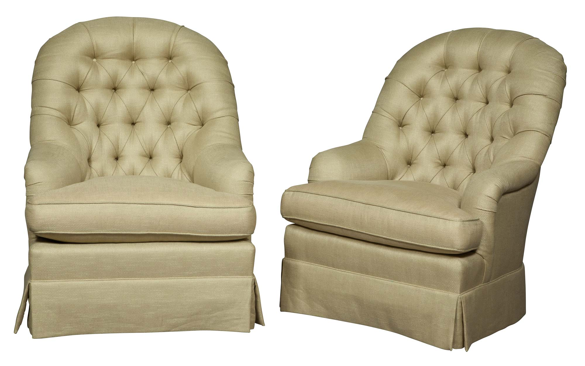 Lot image - Pair of Contemporary Upholstered Tall Back Chairs