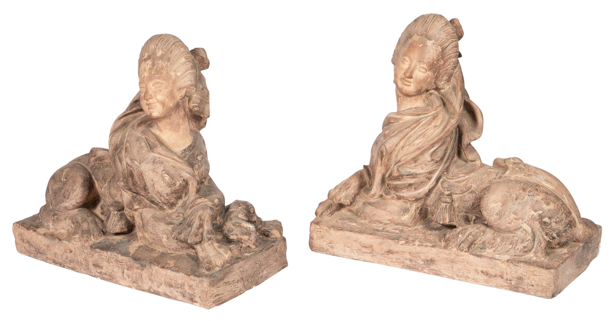 Lot image - Pair of Louis XV Style Terra Cotta Figures of Female Sphinxes